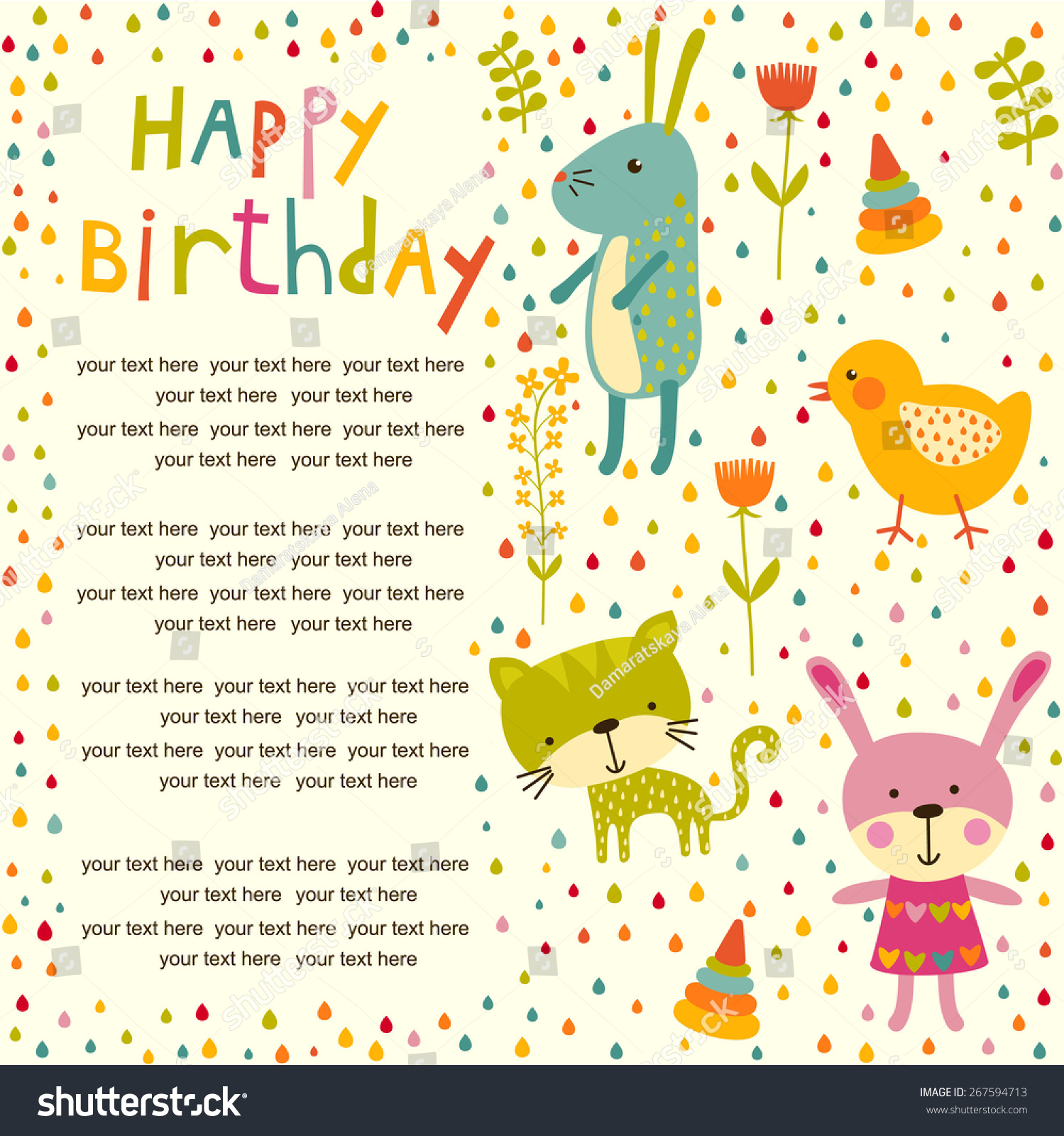 Colorful Baby Shower Background Cat Chicken Stock Vector