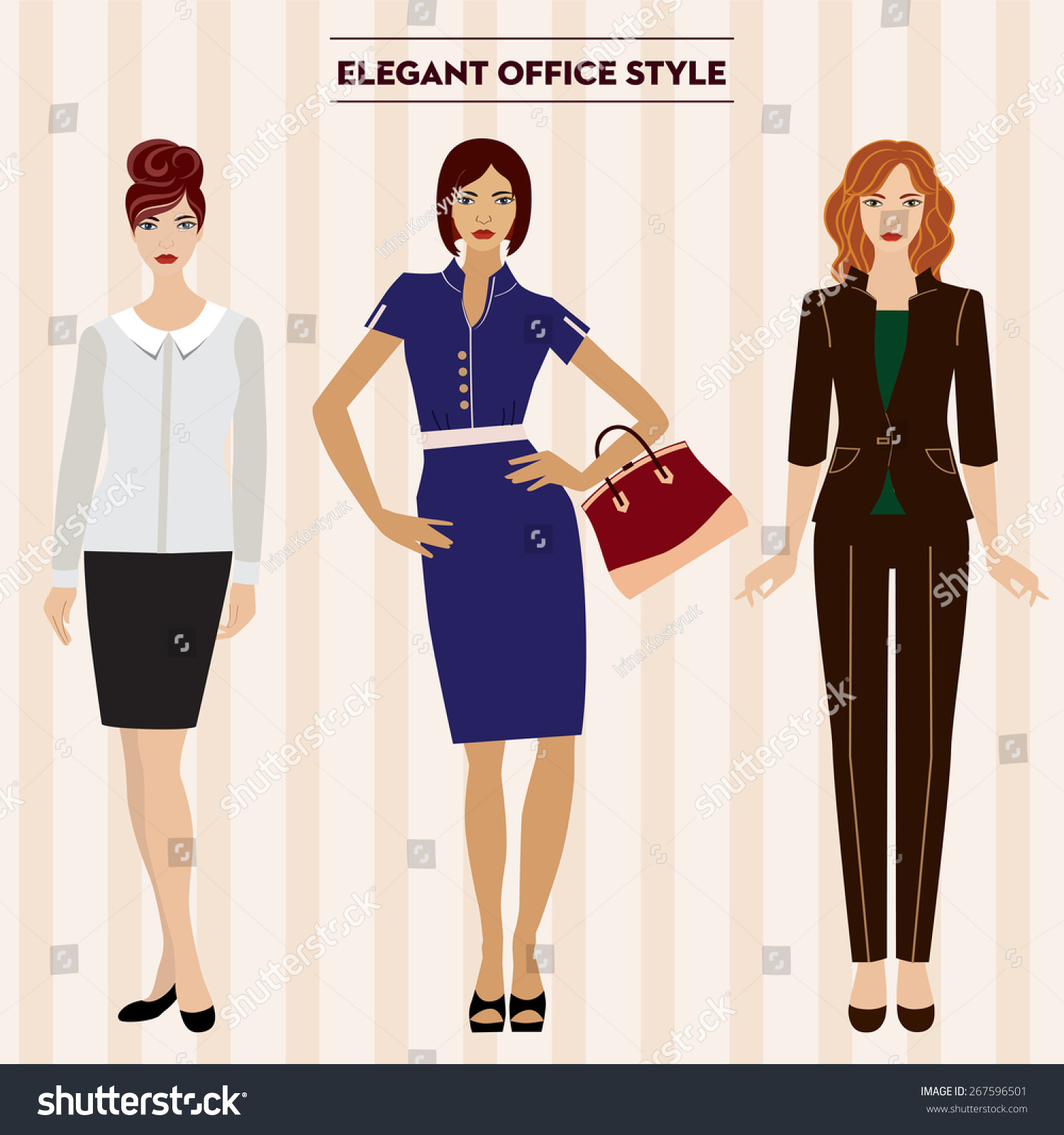 Women Office Clothes Office Working Style Stock Vector 267596501 Shutterstock