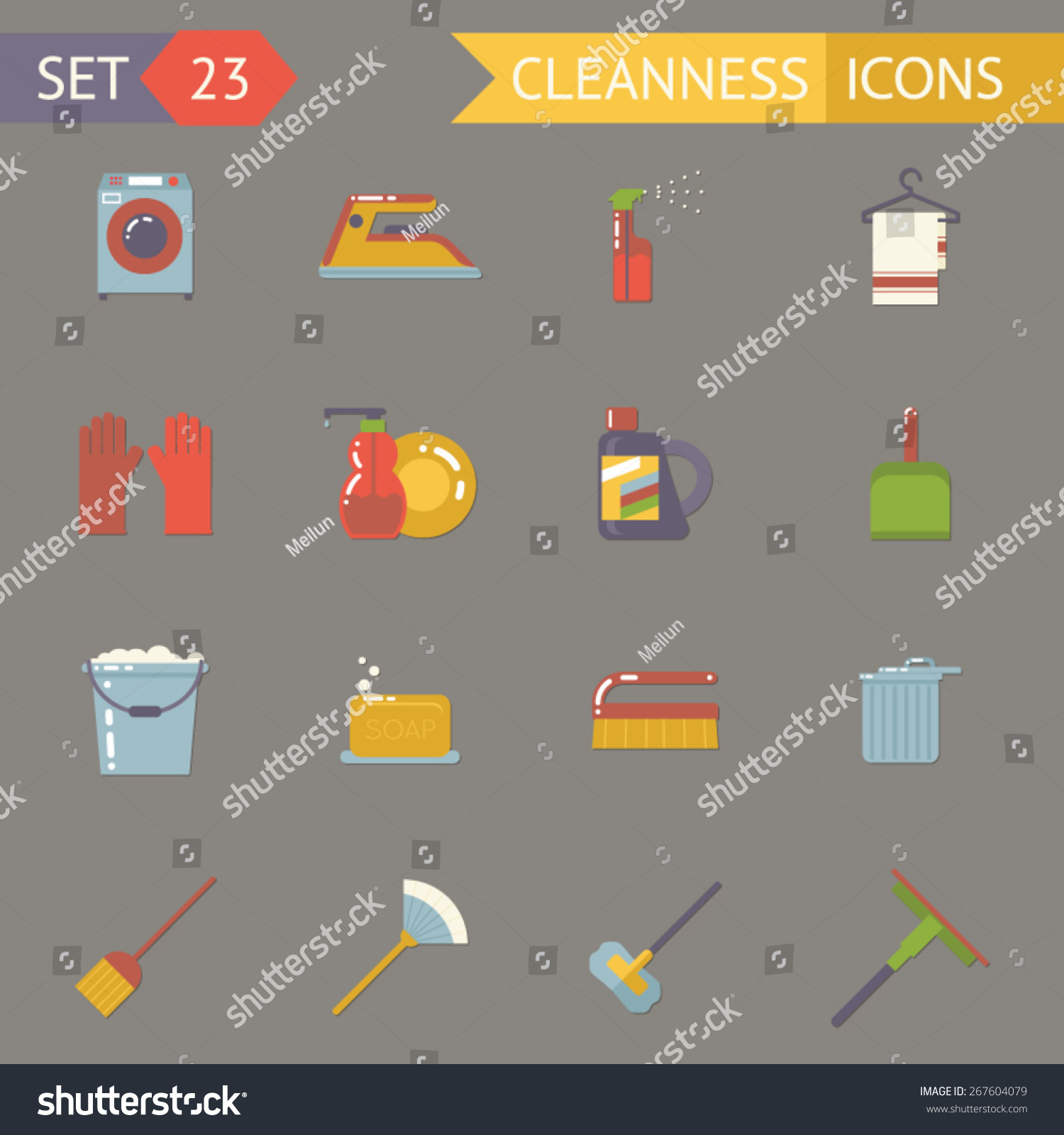Retro Household Cleaning Symbols Accessories Icons Stock Vector ...