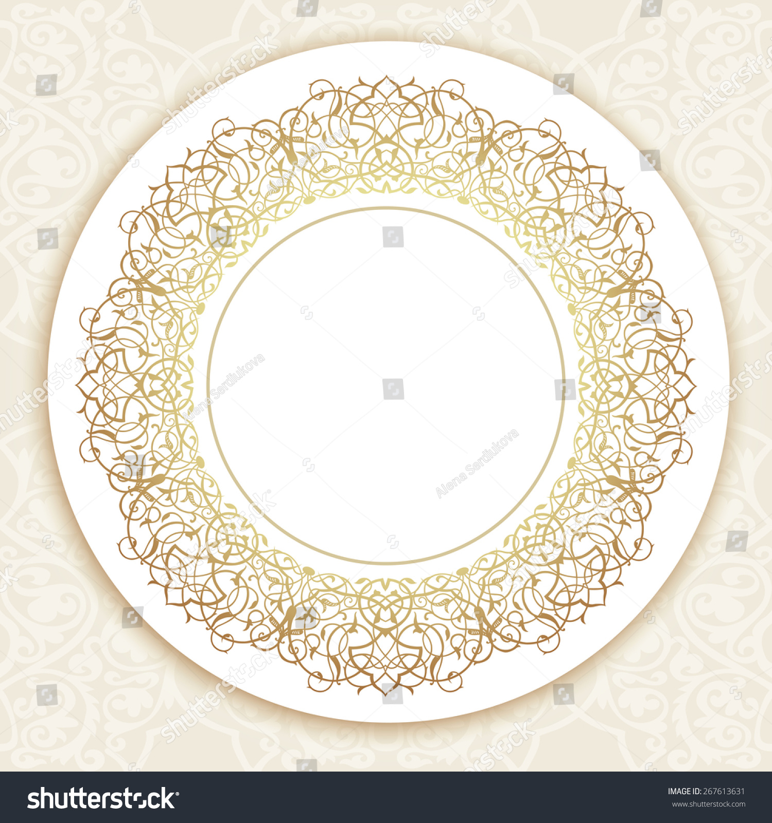 decorative ornate round frame in victorian style ornamental round