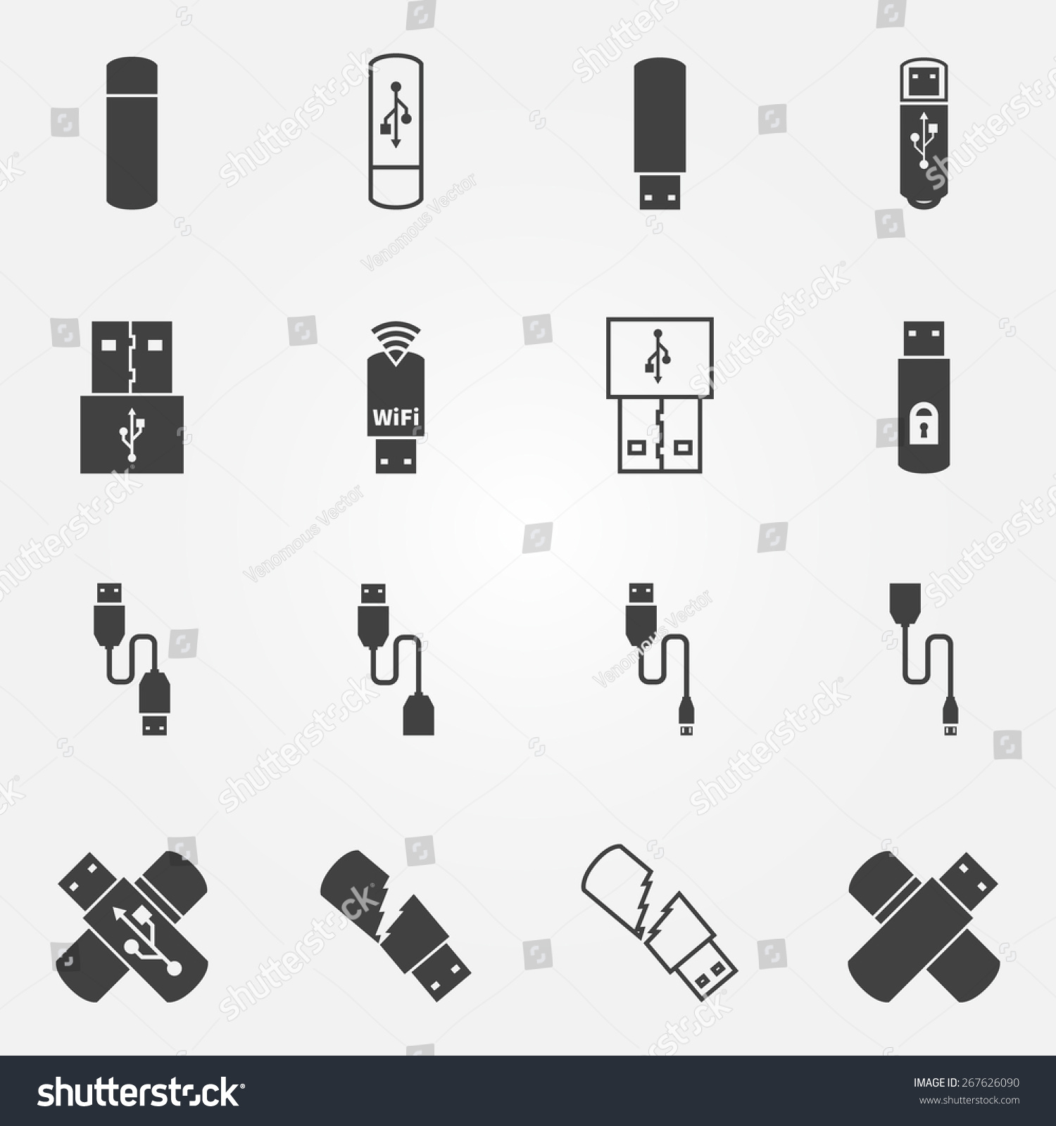 Usb icons set vector black usb stock vector 267626090 shutterstock usb icons set vector black usb flash otg and micro cable symbols or logos biocorpaavc Images