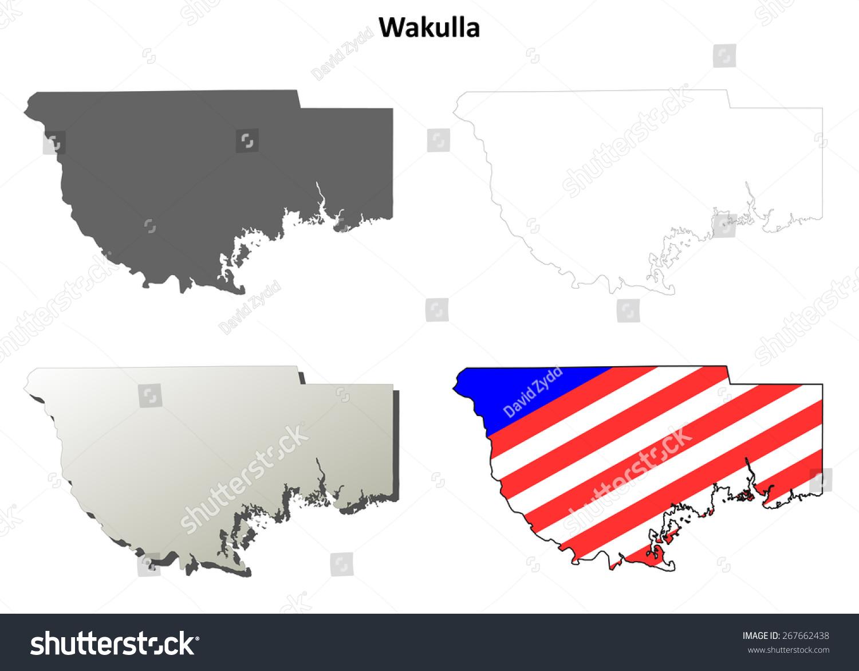 Map Of Wakulla County Florida.Wakulla County Florida Outline Map Set Stock Vector Royalty Free