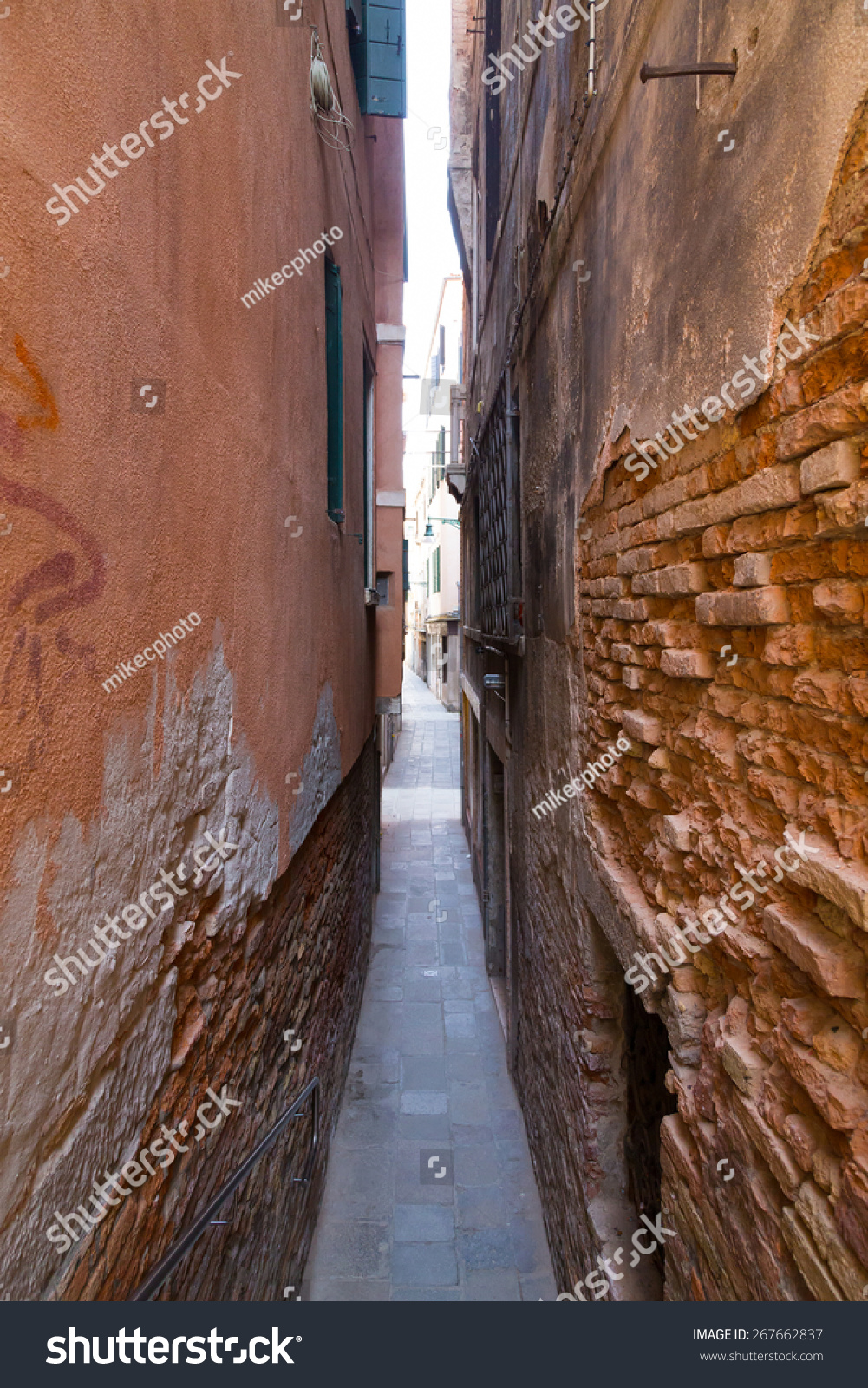 old streets venice showing how narrow stock photo edit now