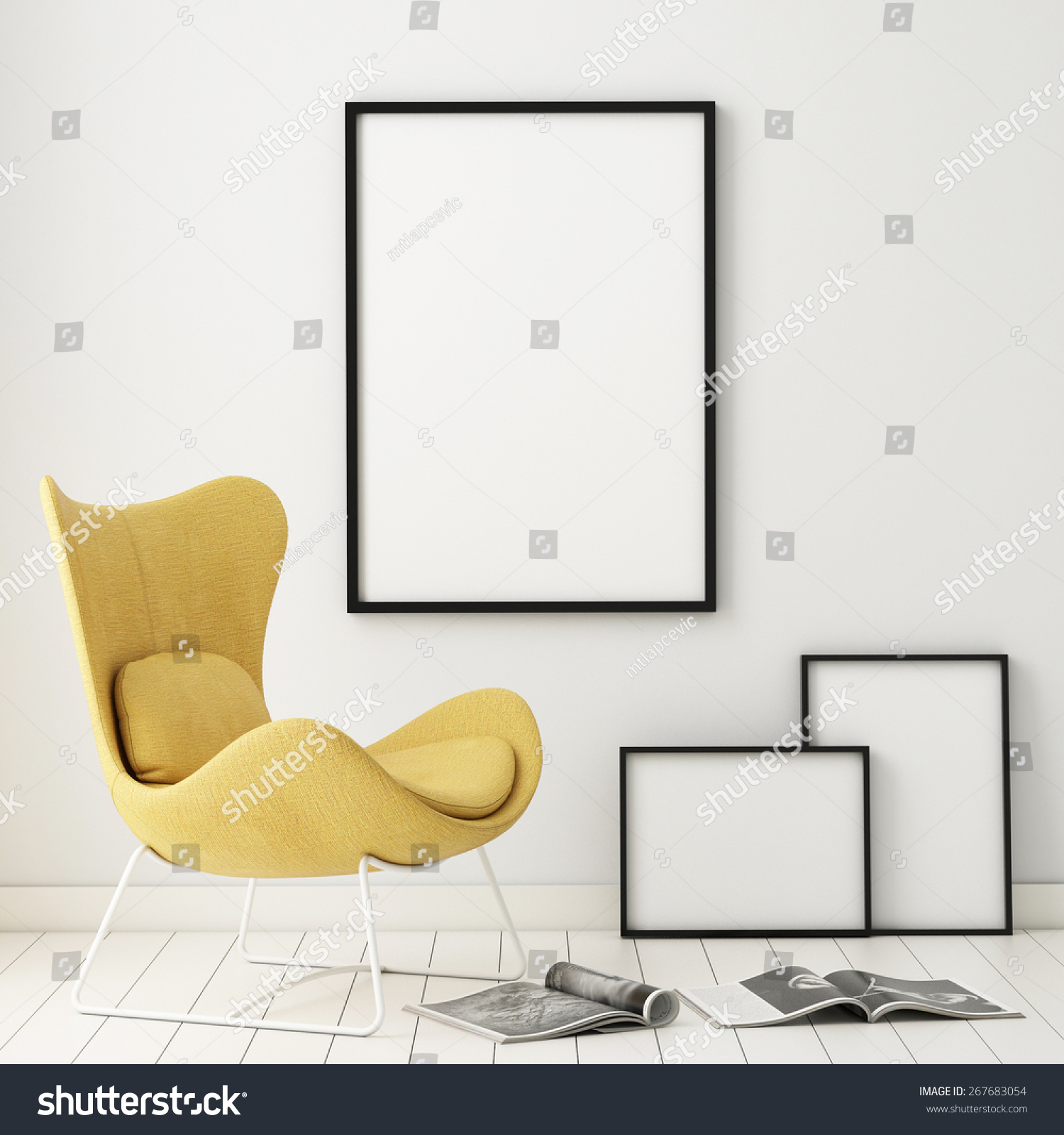 Mock Poster Frames Hipster Interior Background Stock Illustration ...