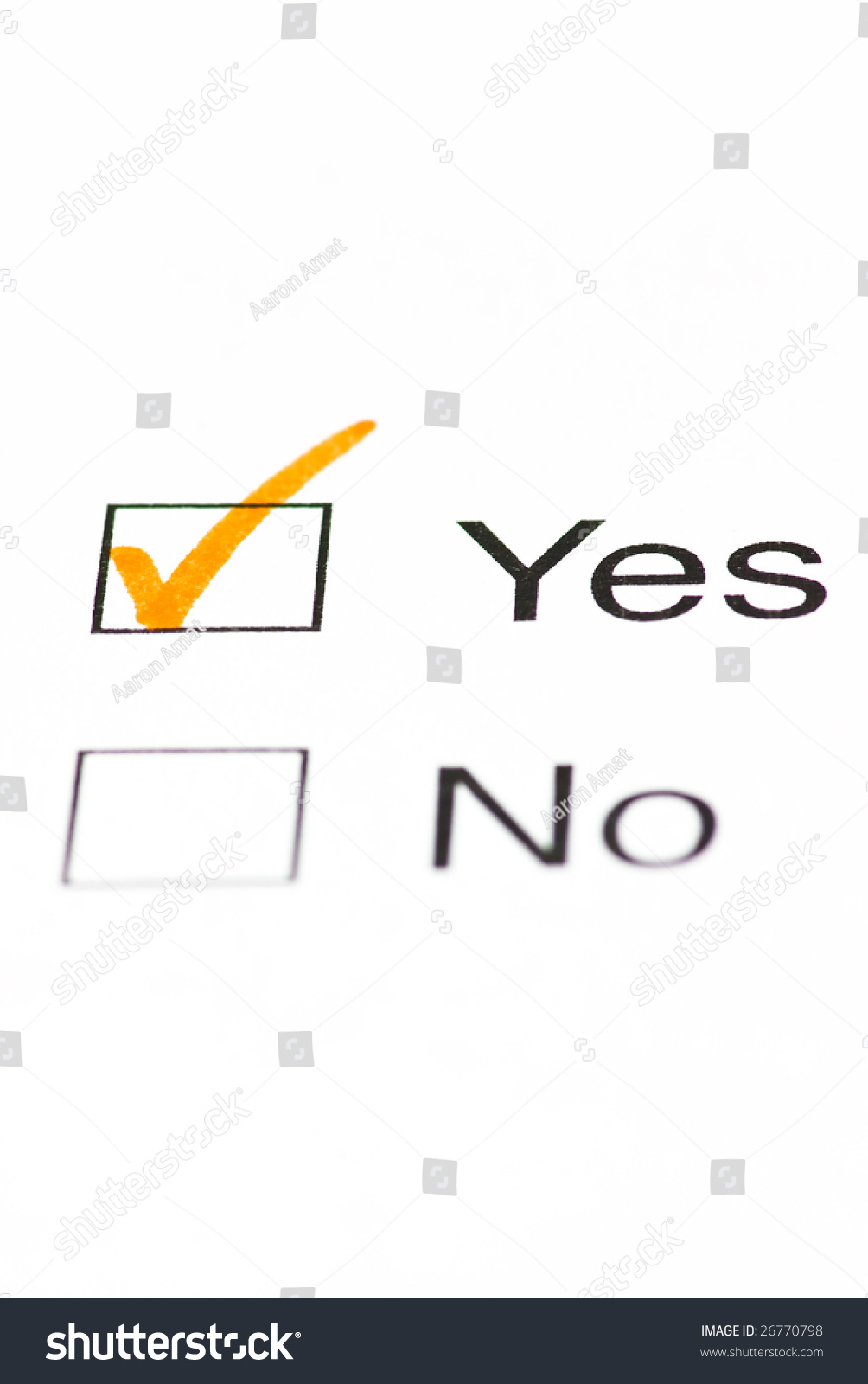 Yes No Check Boxes Stock Photo 26770798