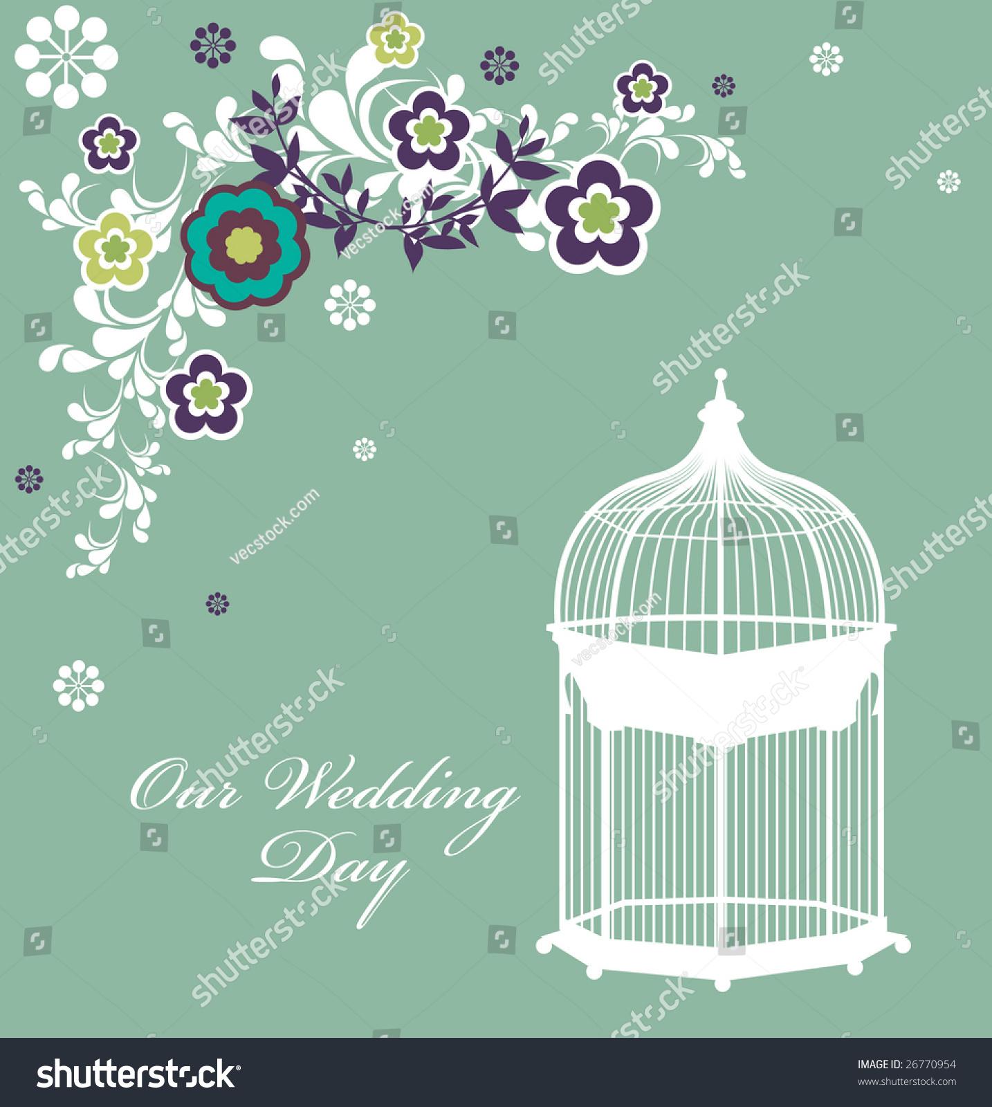 Wedding Invitation Card Bird Cage Stock Vector Shutterstock