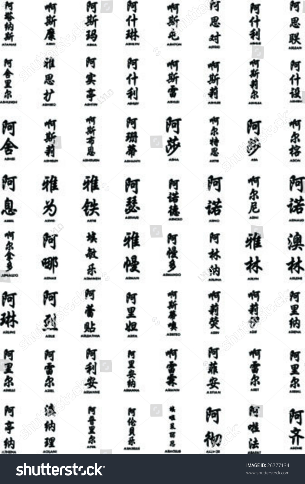 Names chinese letter stock vector 26777134 shutterstock names in chinese with the letter a biocorpaavc Choice Image