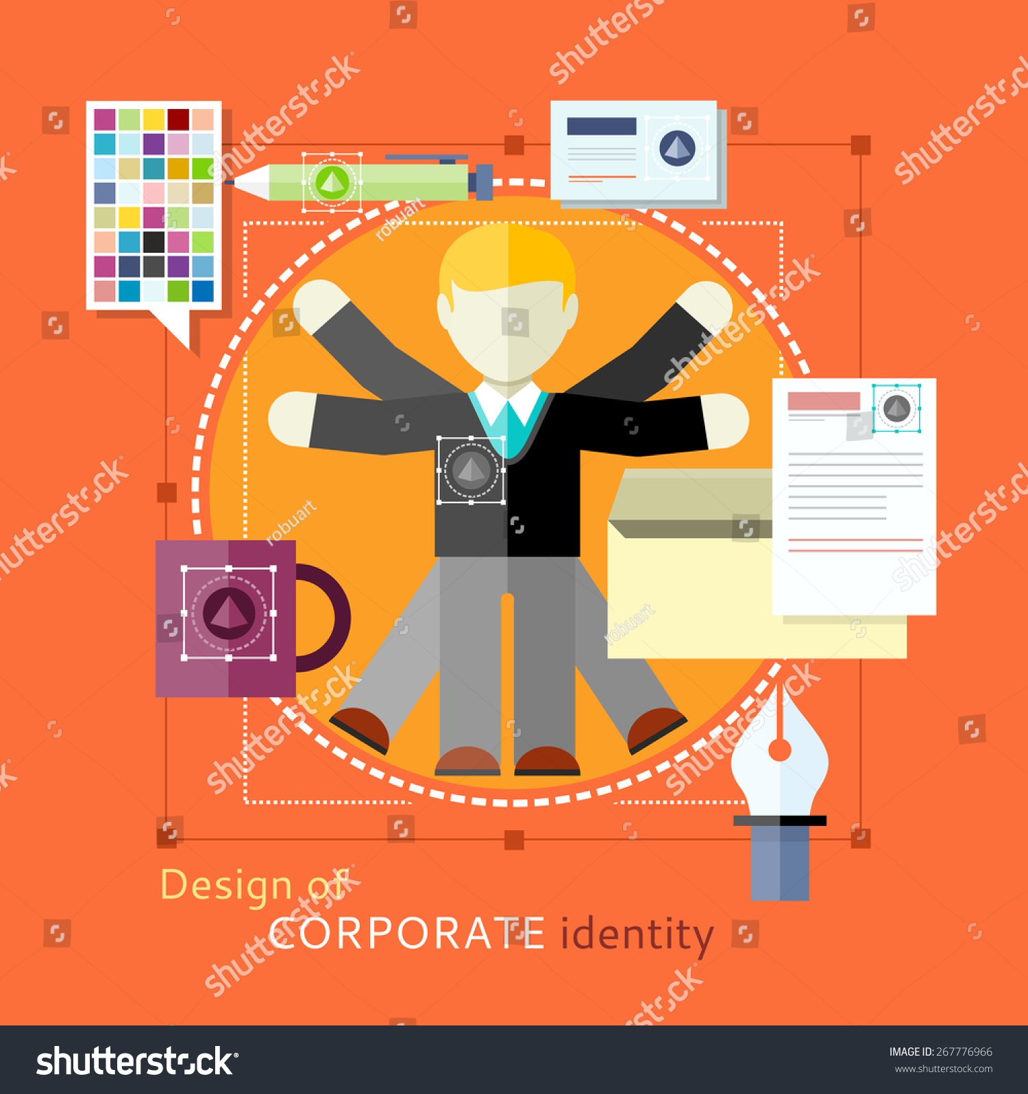 Corporate Identity Concept Design Human Resources Stock Vector