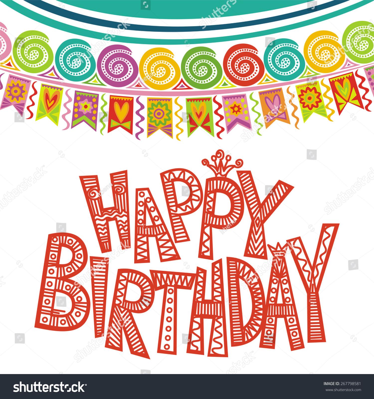 Happy Birthday Greeting Card Illustration Stock Illustration