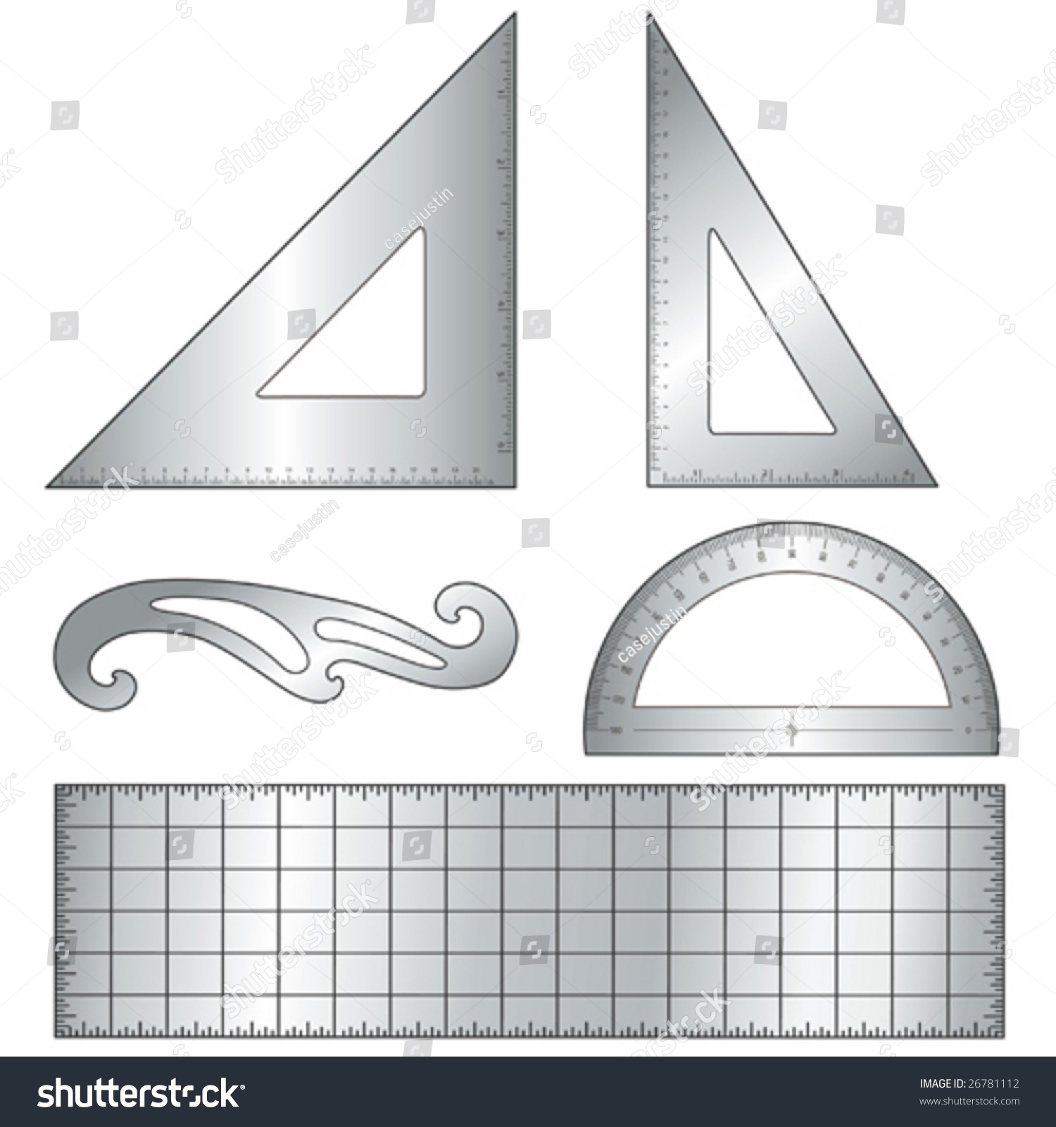 Drafting Tools For Architecture And Engineering: 45 Degree Triangle, 60  Degree Triangle, Ruler