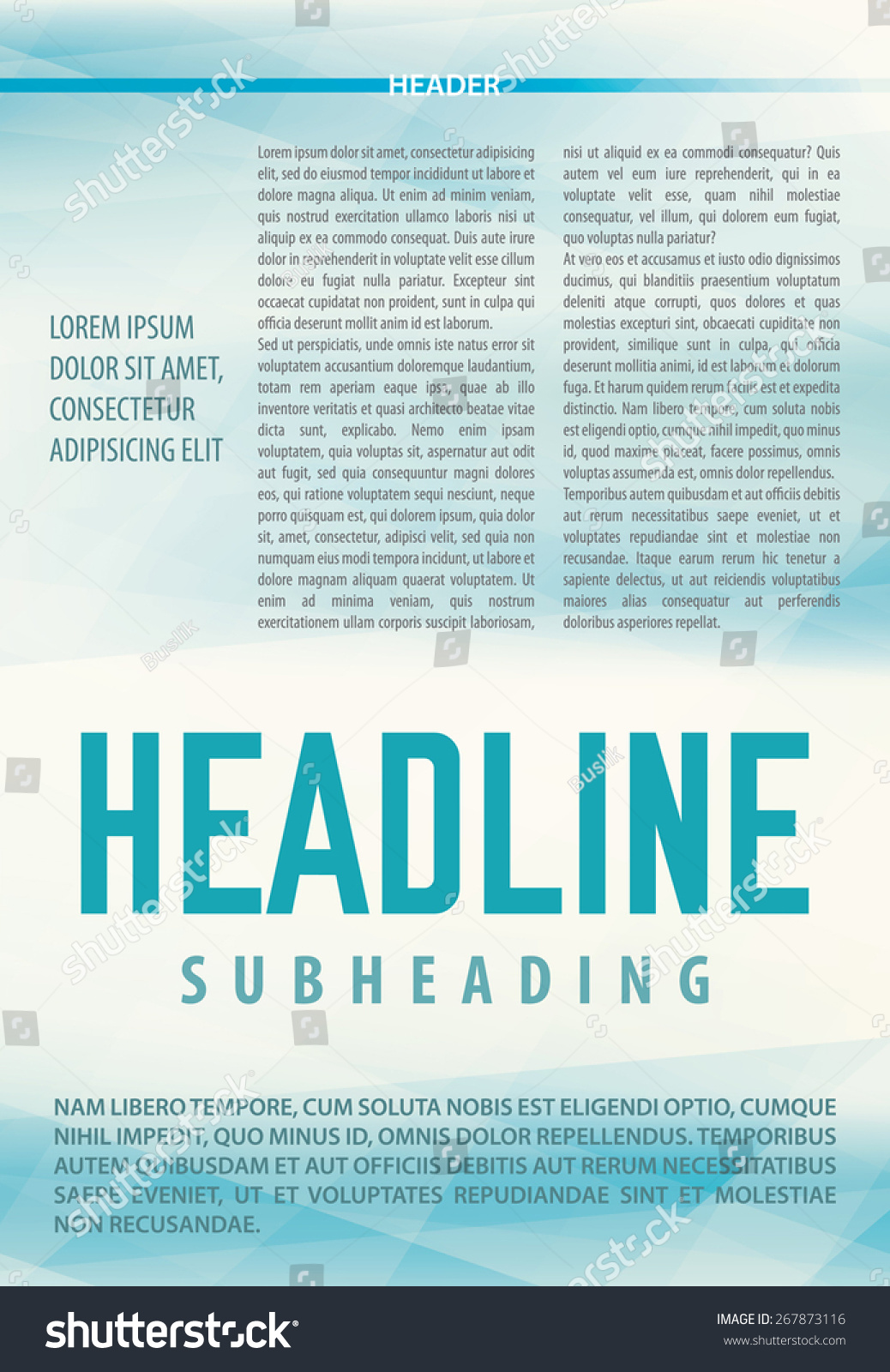 abstract light blue background article newsletter stock vector