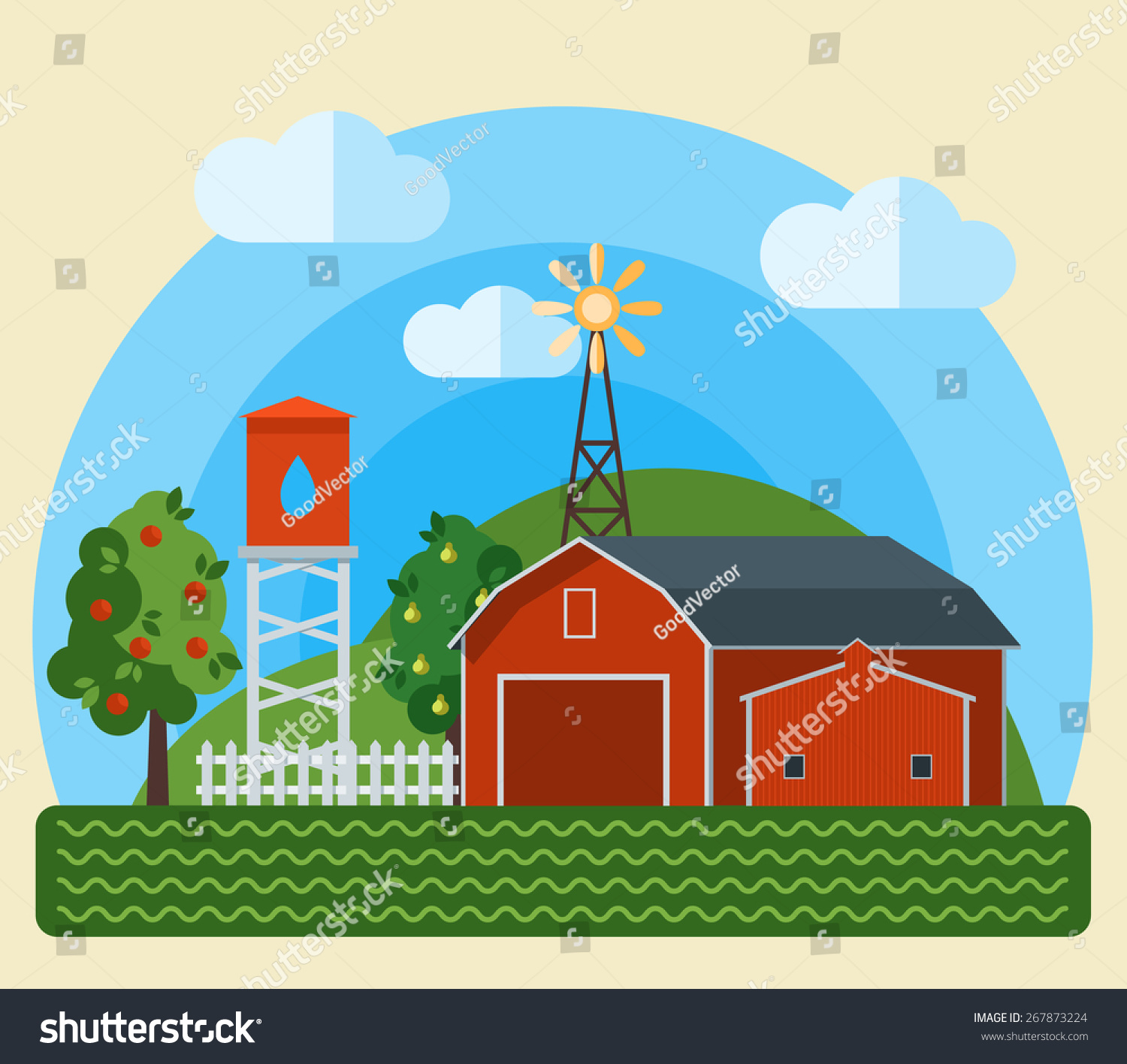 Flat Farm Landscape Illustration With Farmhouse Vector In Trendy Style