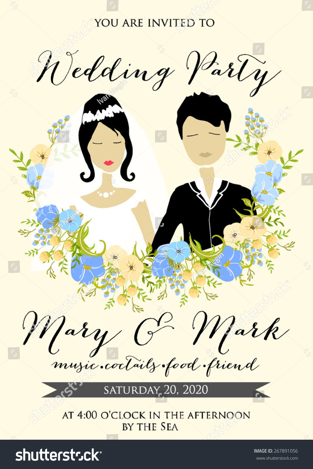 Wedding Invitation Cartoon Couple Groom Bride Stock Vector (Royalty ...
