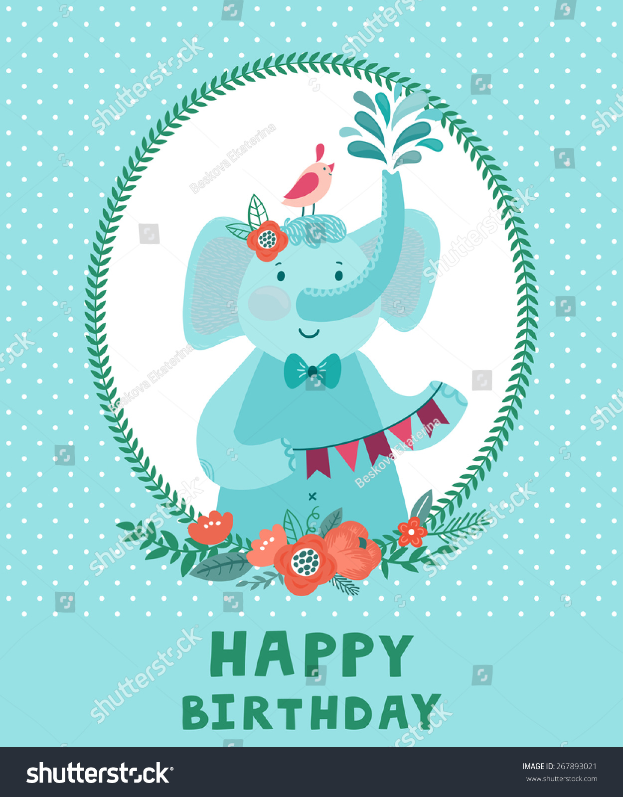 Vector Birthday Card With Cute Smiling Elephant And Bird Childish Background Cartoon Characters