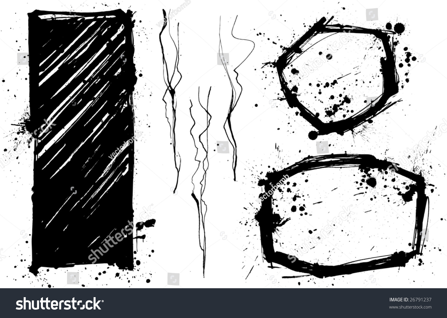 vector illustration of various comic framing elements oval frames smoke trails or vines and
