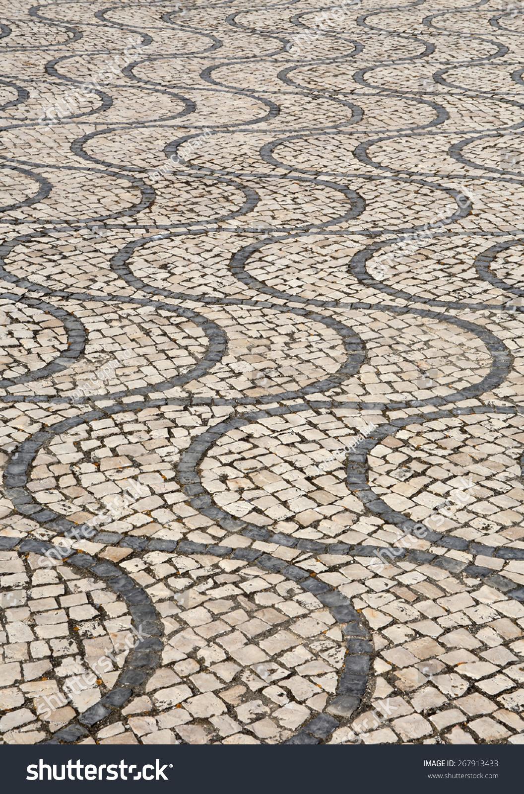 Cobble Stone Mosaics : Typical portuguese calcada mosaic cobble stone paving