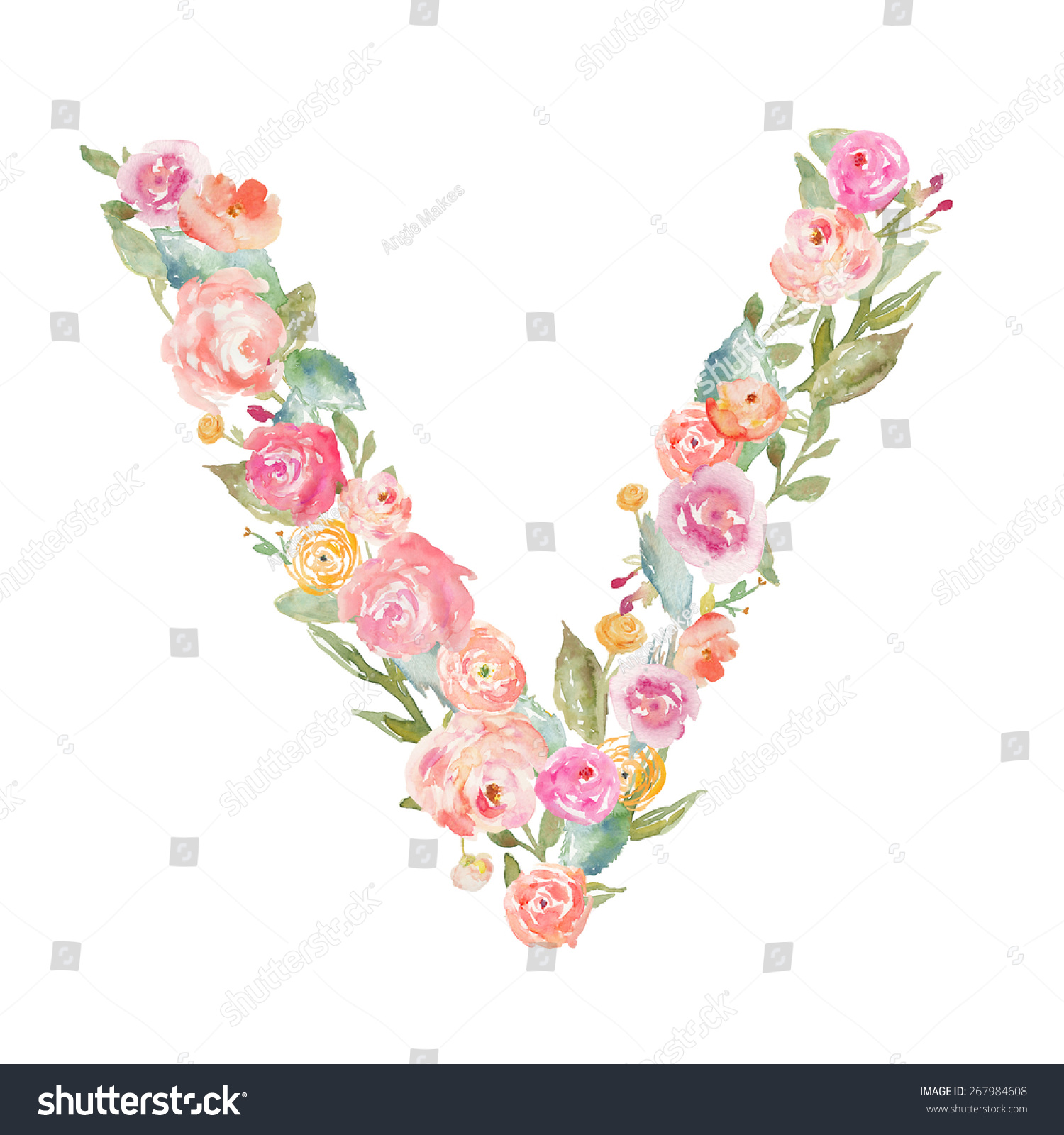 Royalty free watercolor flower alphabet monogram 267984608 watercolor flower alphabet monogram letter v made of flowers 267984608 altavistaventures Choice Image