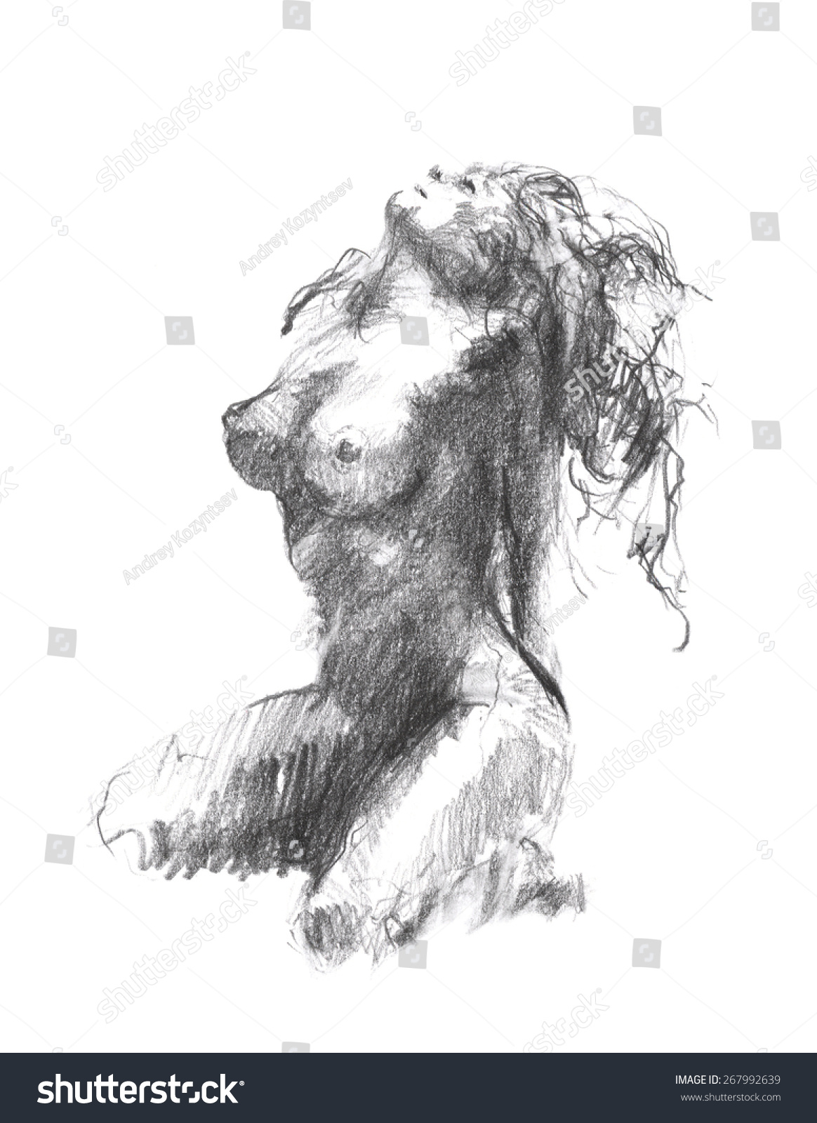 Girl bending naked sketched over