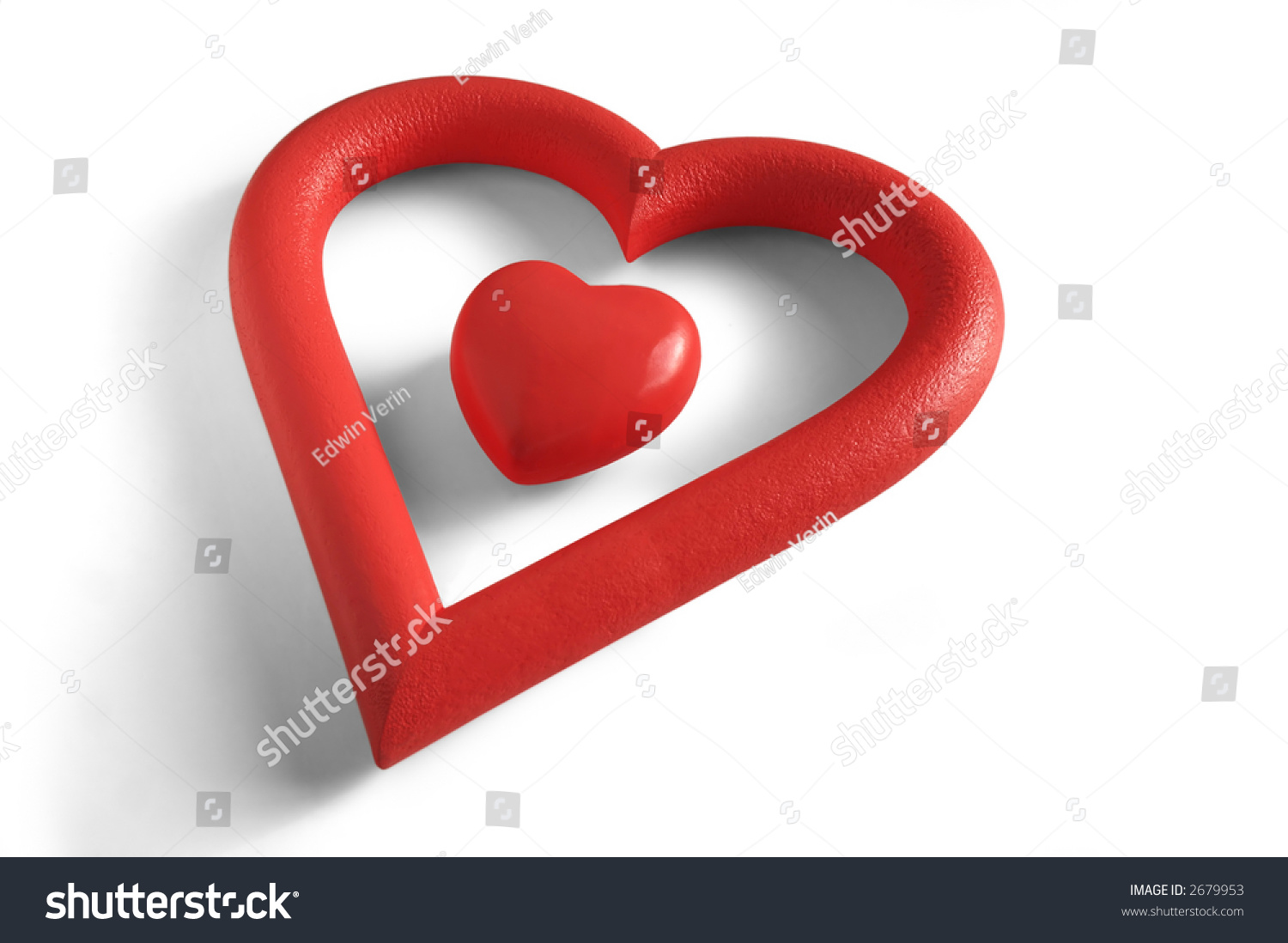 Valentines heart within heartshaped frame white stock photo 2679953 a valentines heart within a heart shaped frame in white background biocorpaavc Images