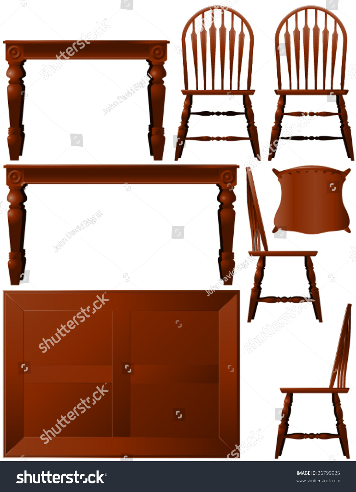 Traditional dining room vector furniture in multiple views