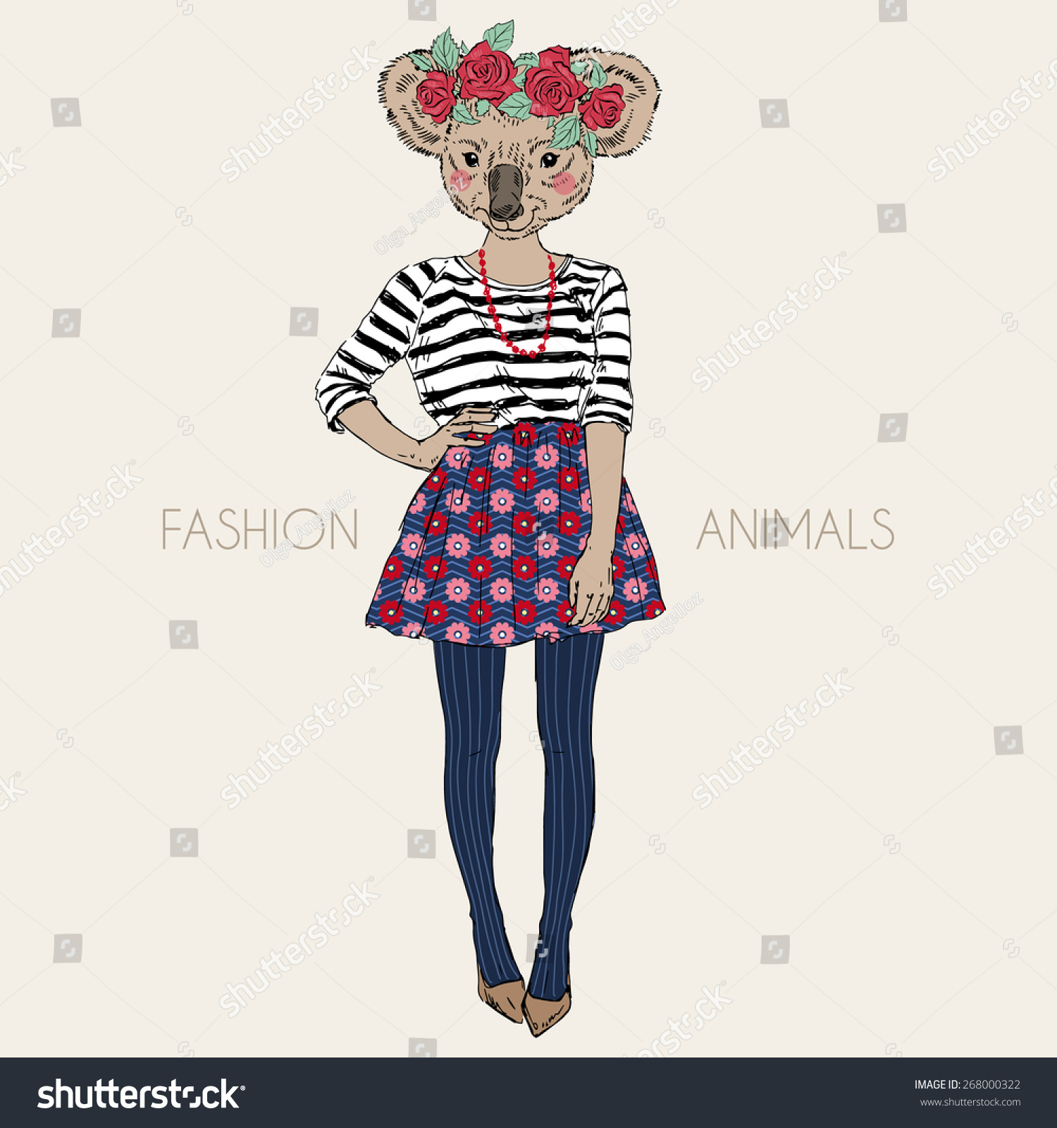 Cute Character Design Illustrator : Fashion animal illustration cute koala hipster stock