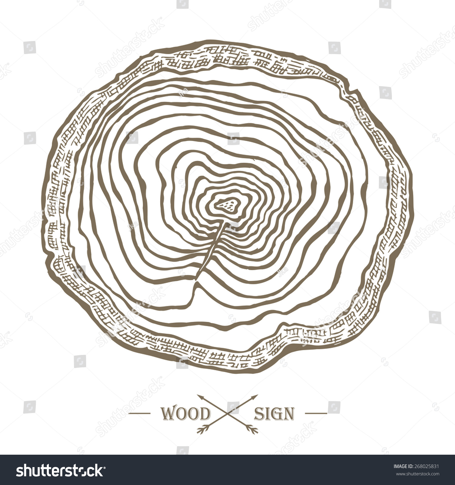 vector tree ring background saw cut stock vector 268025831