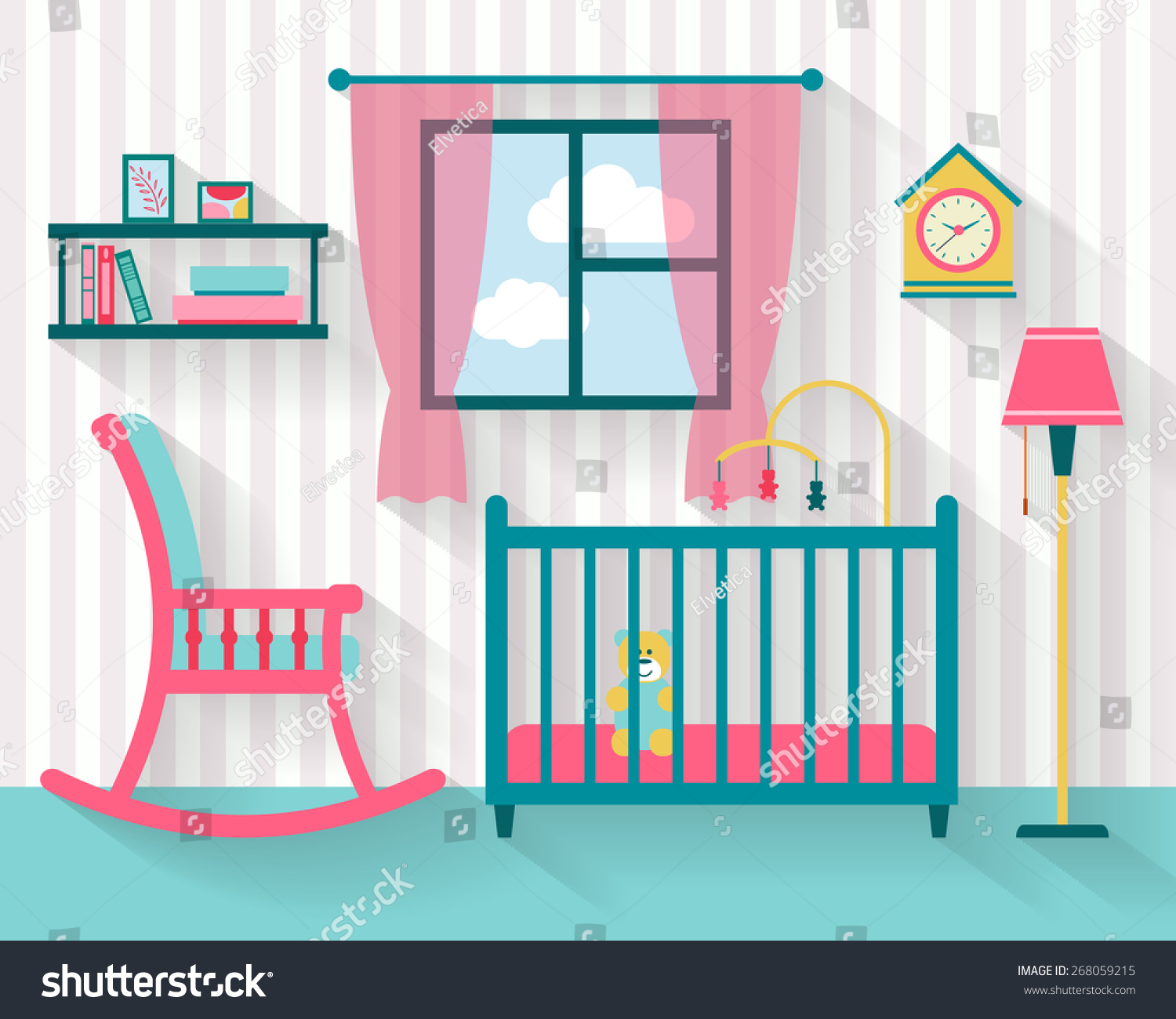 Baby Room Furniture Rocking Chair Nursery Stock Vector Royalty Free 268059215