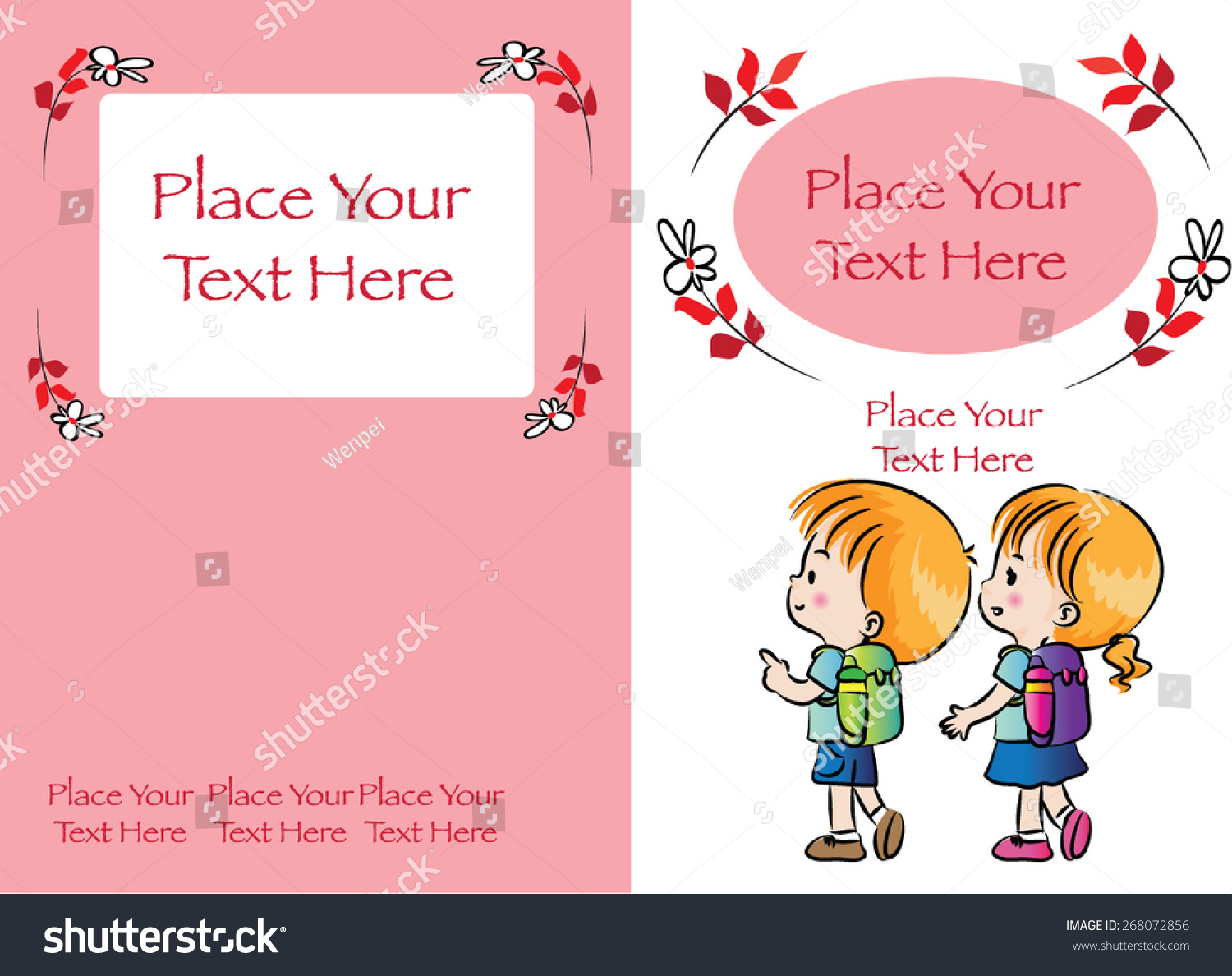 Kids Book Cover Design Red Background Stock Vector Royalty Free 268072856