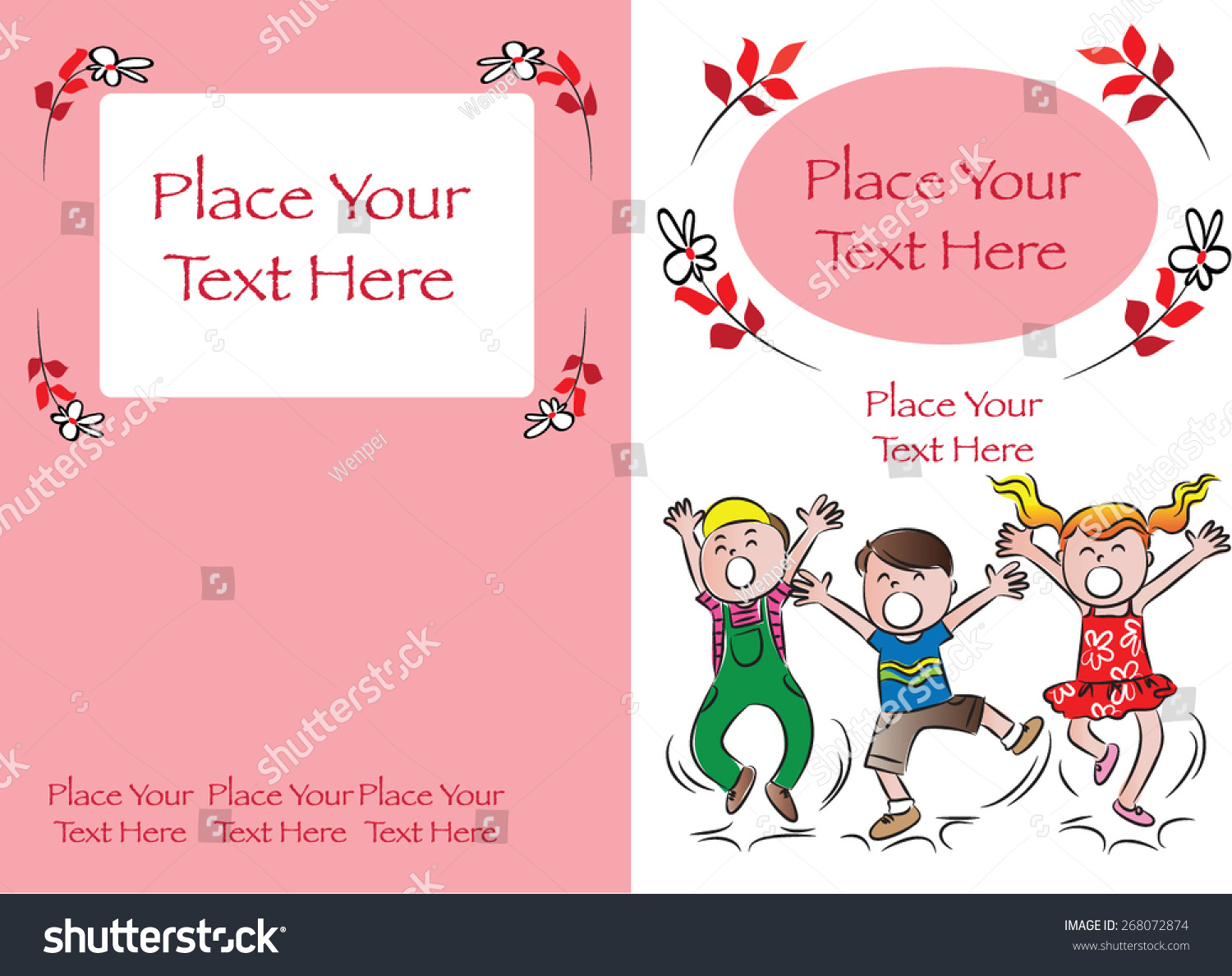 Book Cover Design Background For Kids ~ Kids book cover design red background stock vector