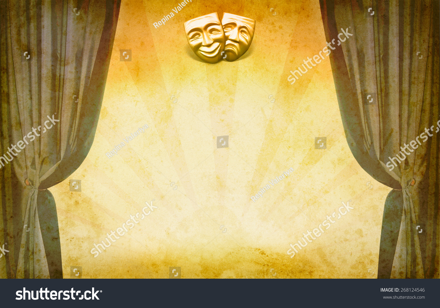 Theater Vintage Background Open Curtains Masks Stock Photo (Edit Now ...