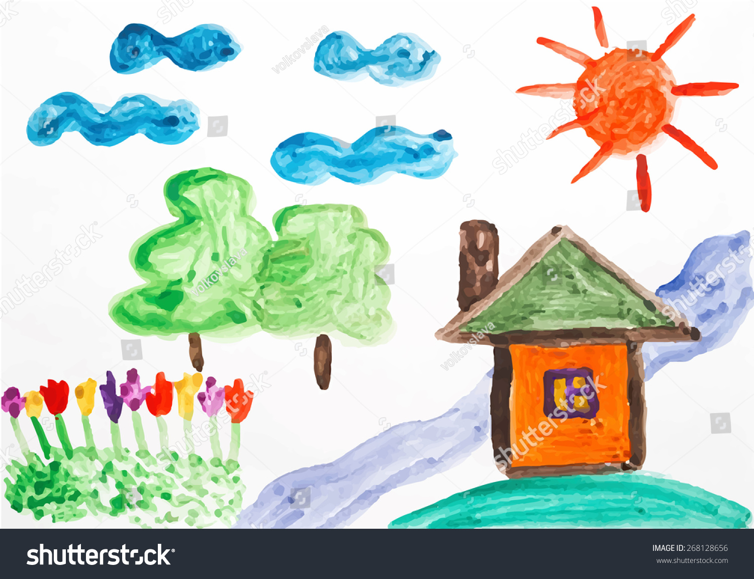 Child picturesque coloured drawing on paper paint the house the sun flowers