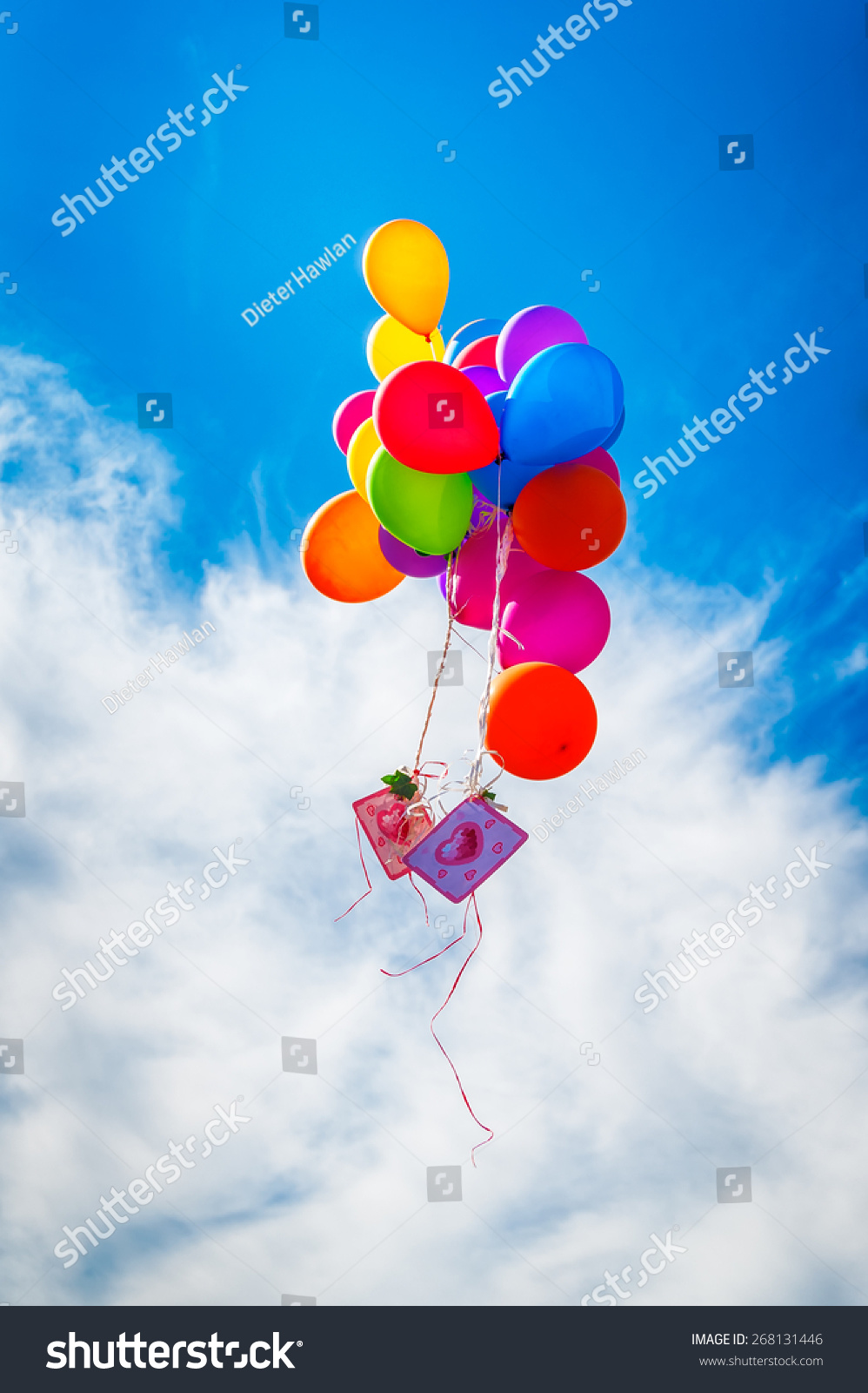 Colorful balloon greeting cards on blue stock photo 268131446 colorful balloon with greeting cards on blue sky at wedding honeymoon kristyandbryce Images