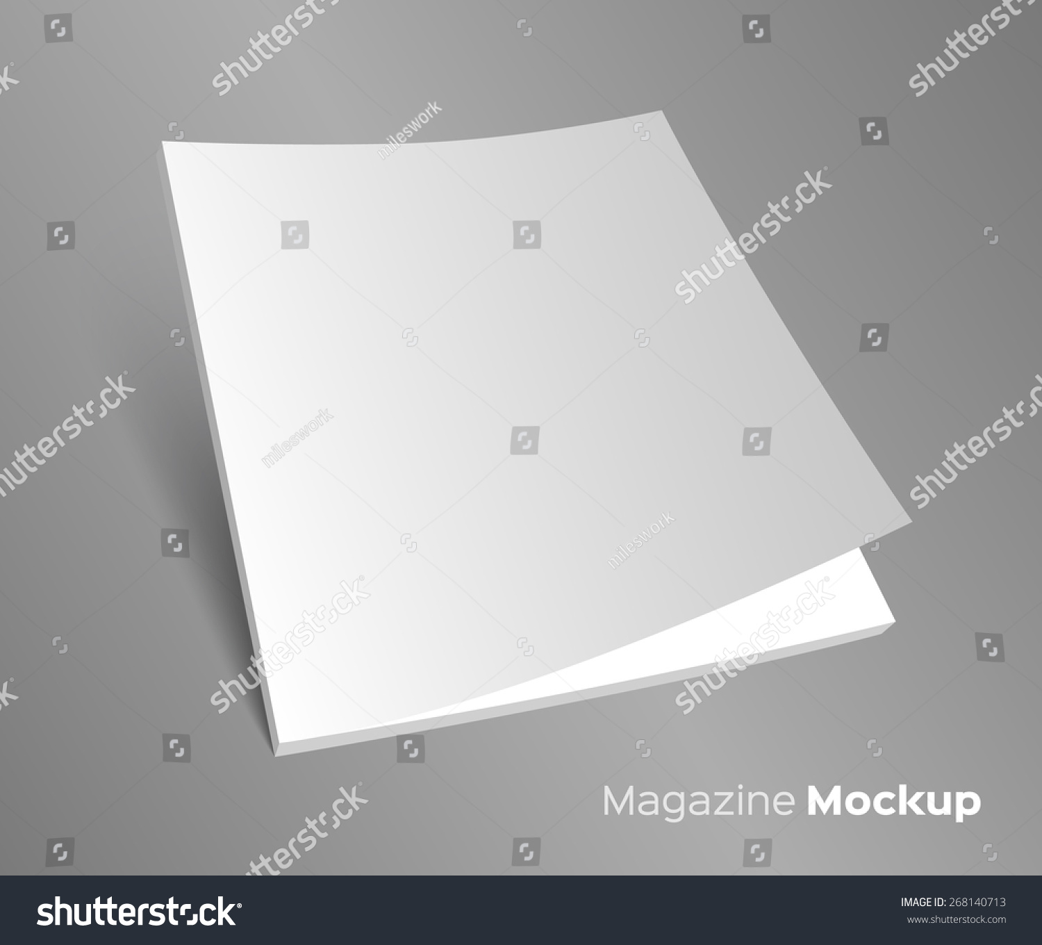 3D Blank Brochure Cover. Realistic Vector EPS10 Illustration. Gray  Background.  Blank Brochure