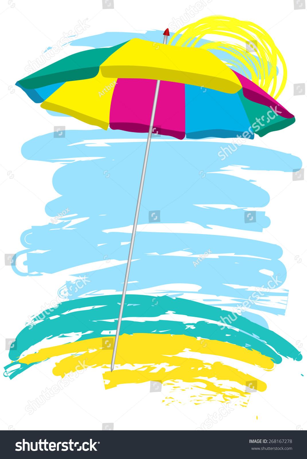 Beach chair and umbrella sketch - Beach Umbrella On The Beach Sketch