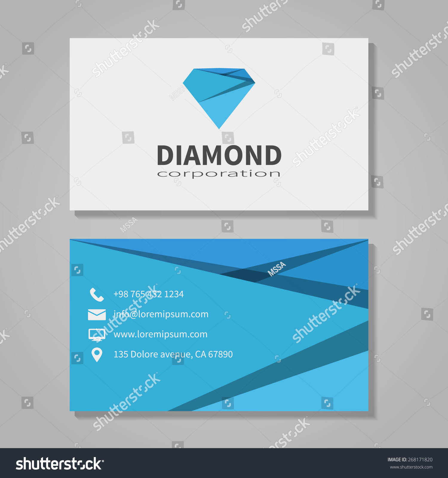diamond corporation business card template in modern style office and visit phone number