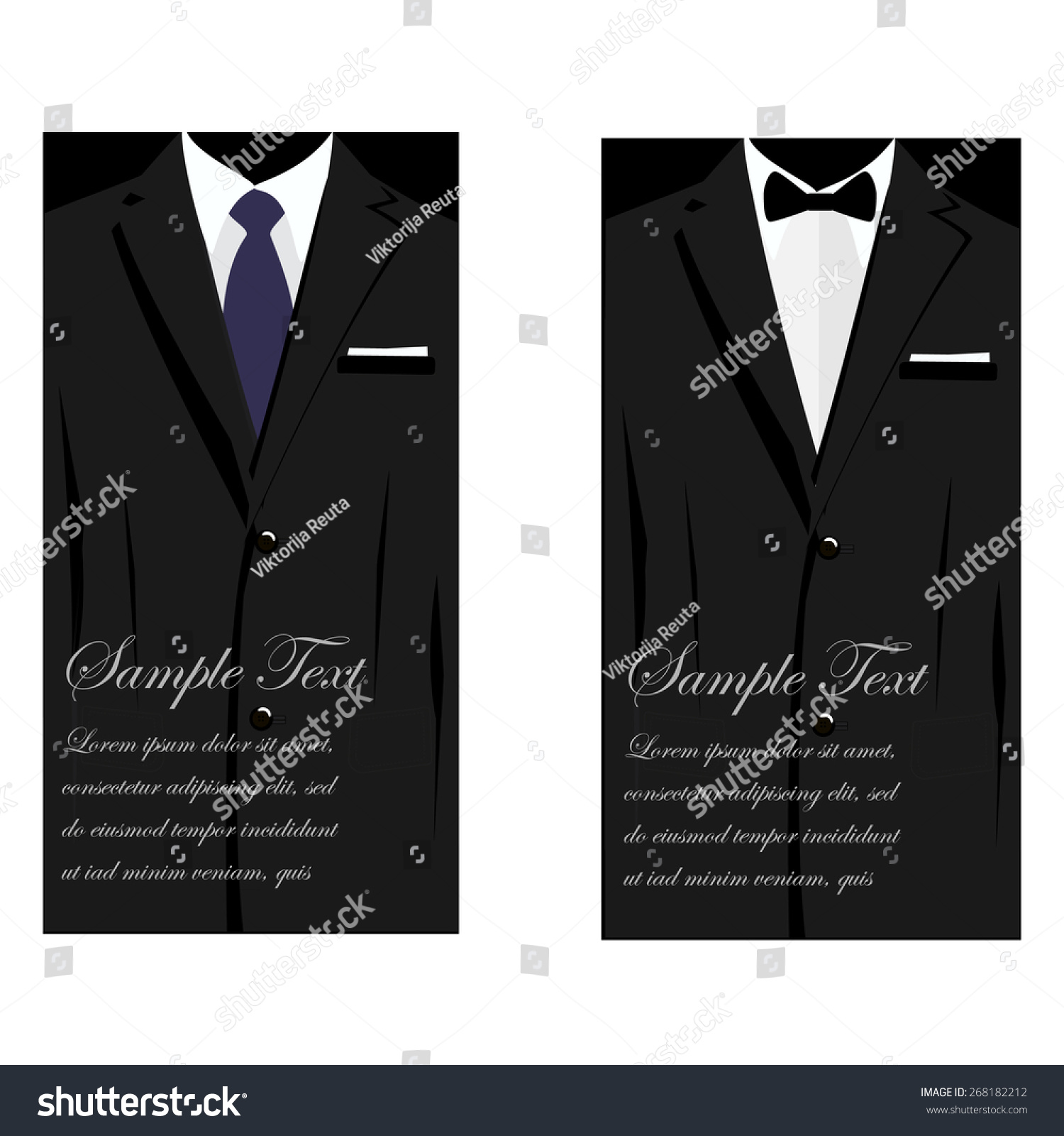 vector business cards elegant suit bowtie stock vector 268182212