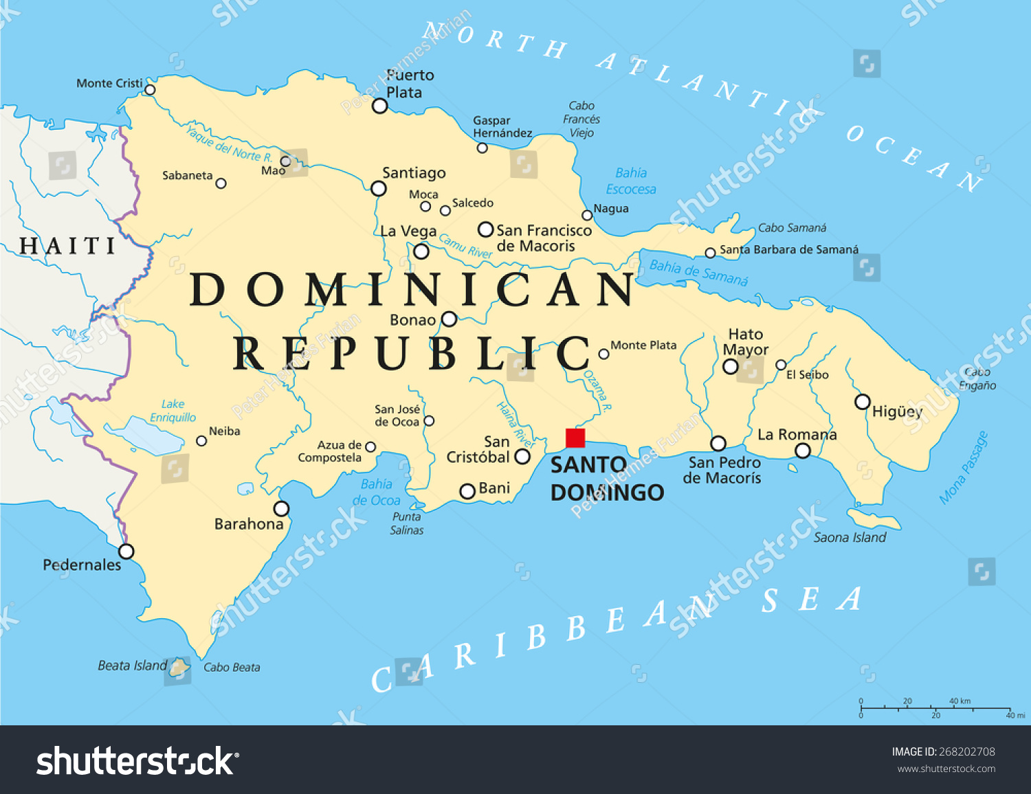 dominican republic political map capital santo stock vector  - dominican republic political map with capital santo domingo with nationalborders important cities