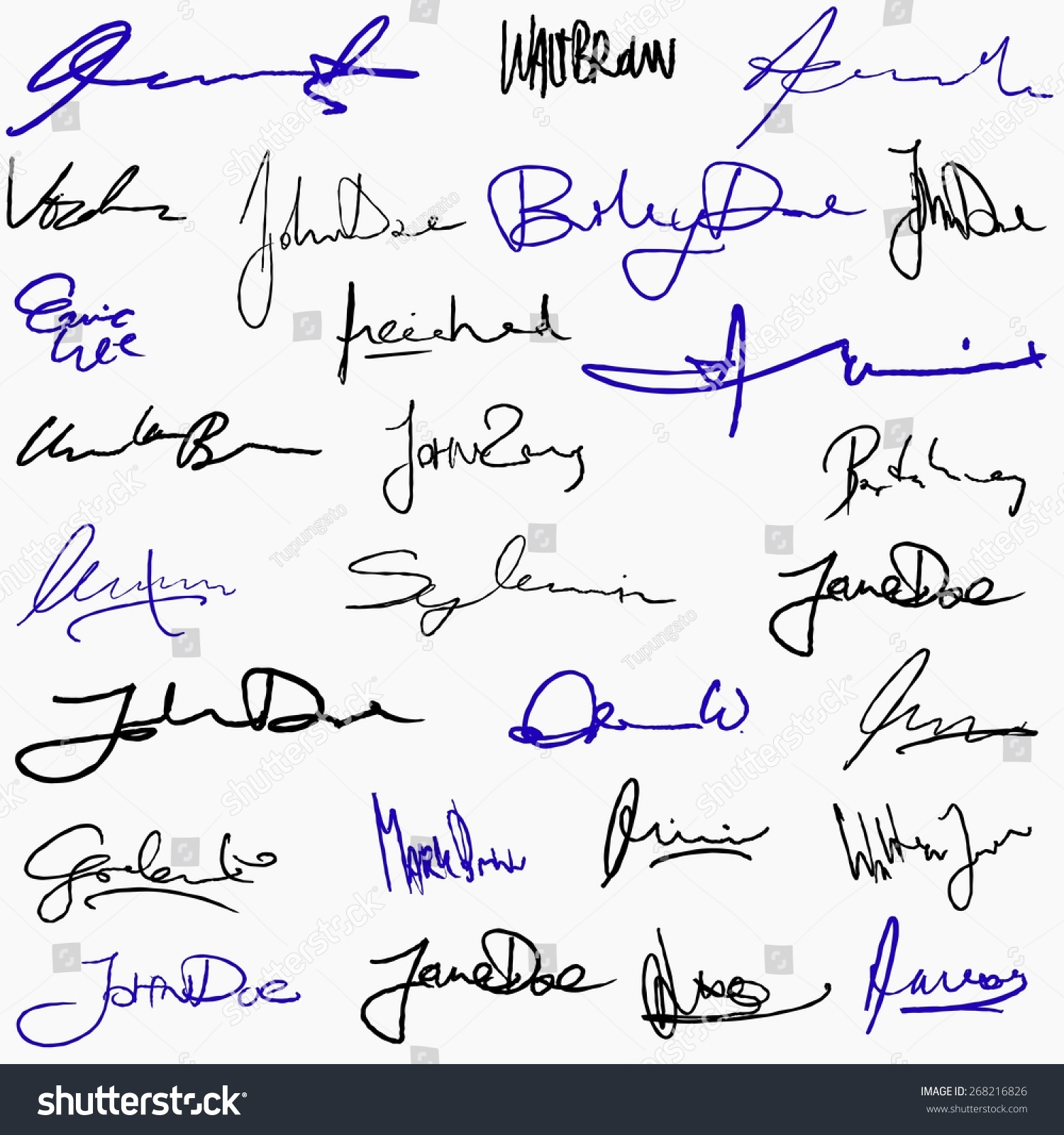 collection handwritten signatures personal contract