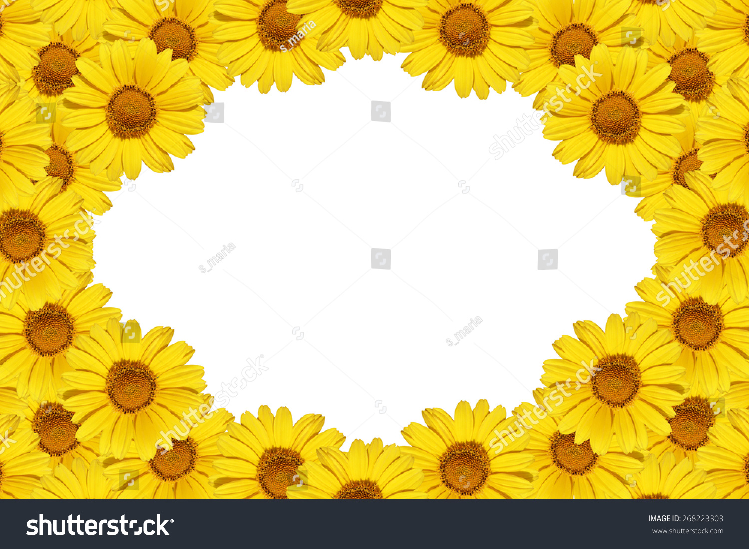 Beautiful Yellow Flowers Frame Border Isolated Stock Photo Edit Now