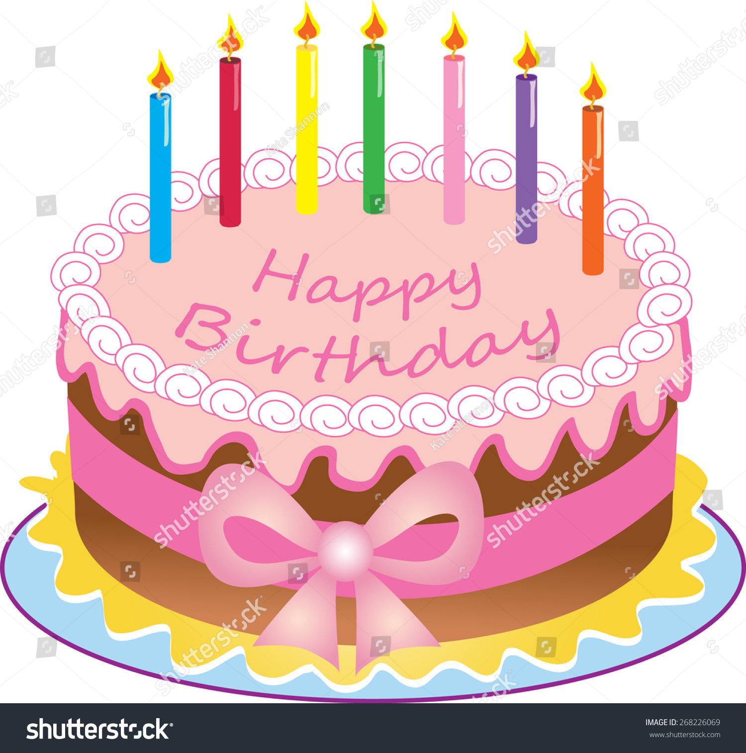 Cartoon Happy Birthday Cake Colored Candlessugar Stock Vector Royalty Free 268226069