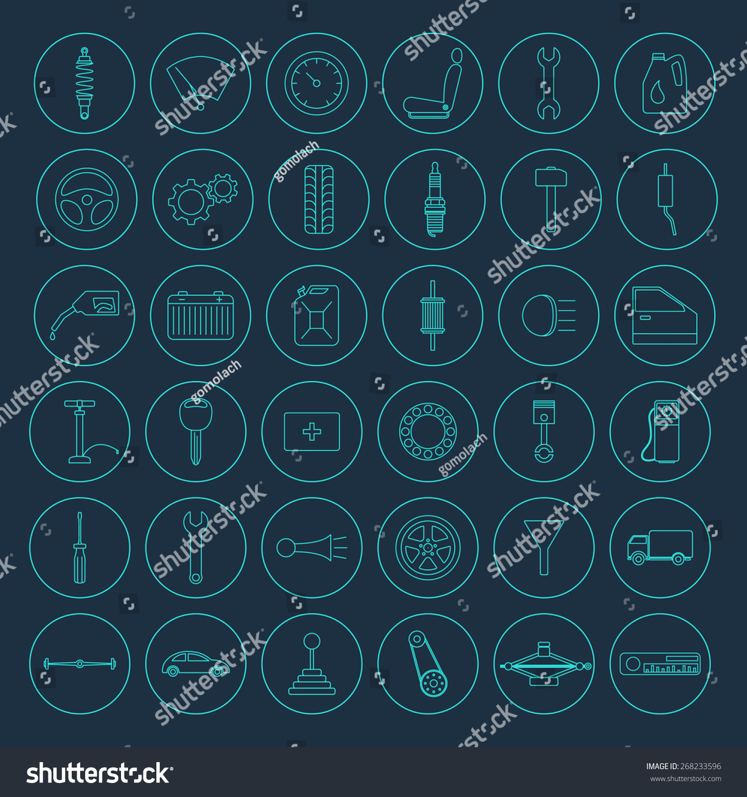Set of 36 simple car parts icons stock vector for Simple car parts