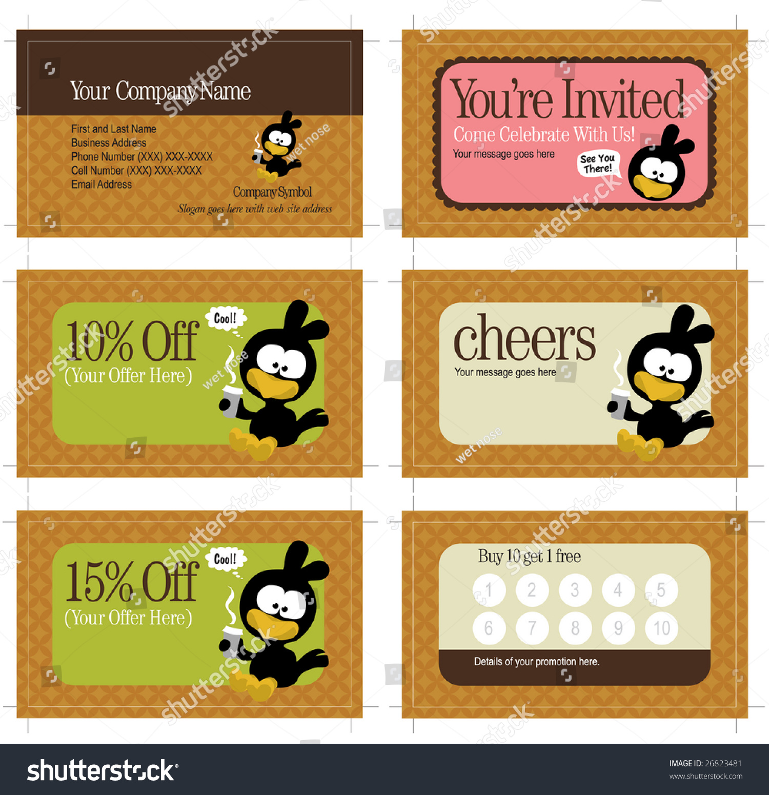 35x2 Business Card Promo Cards Includes Stock Vector 26823481 ...