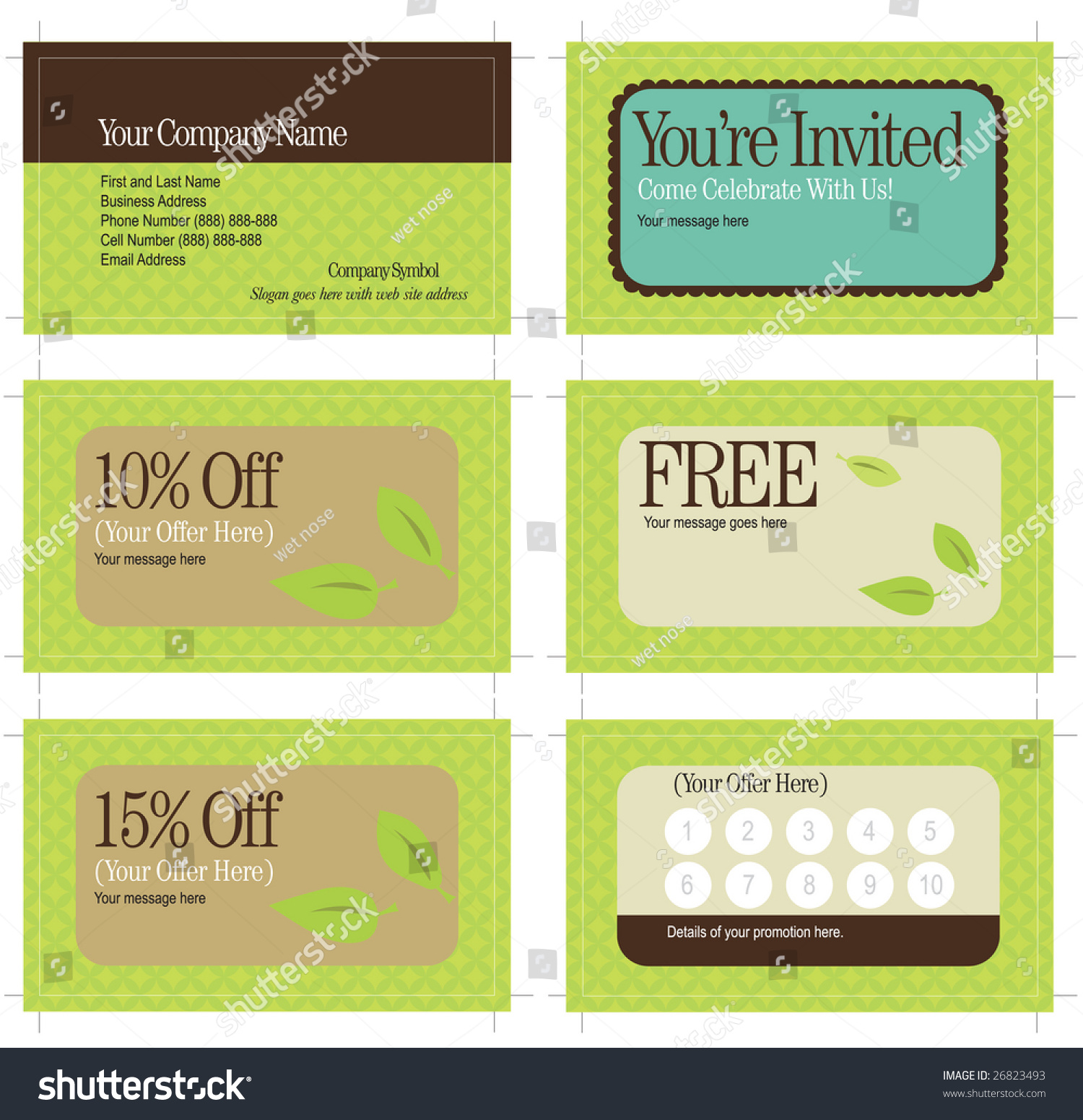 35x2 Business Card Promo Cards Includes Stock Vector 26823493 ...