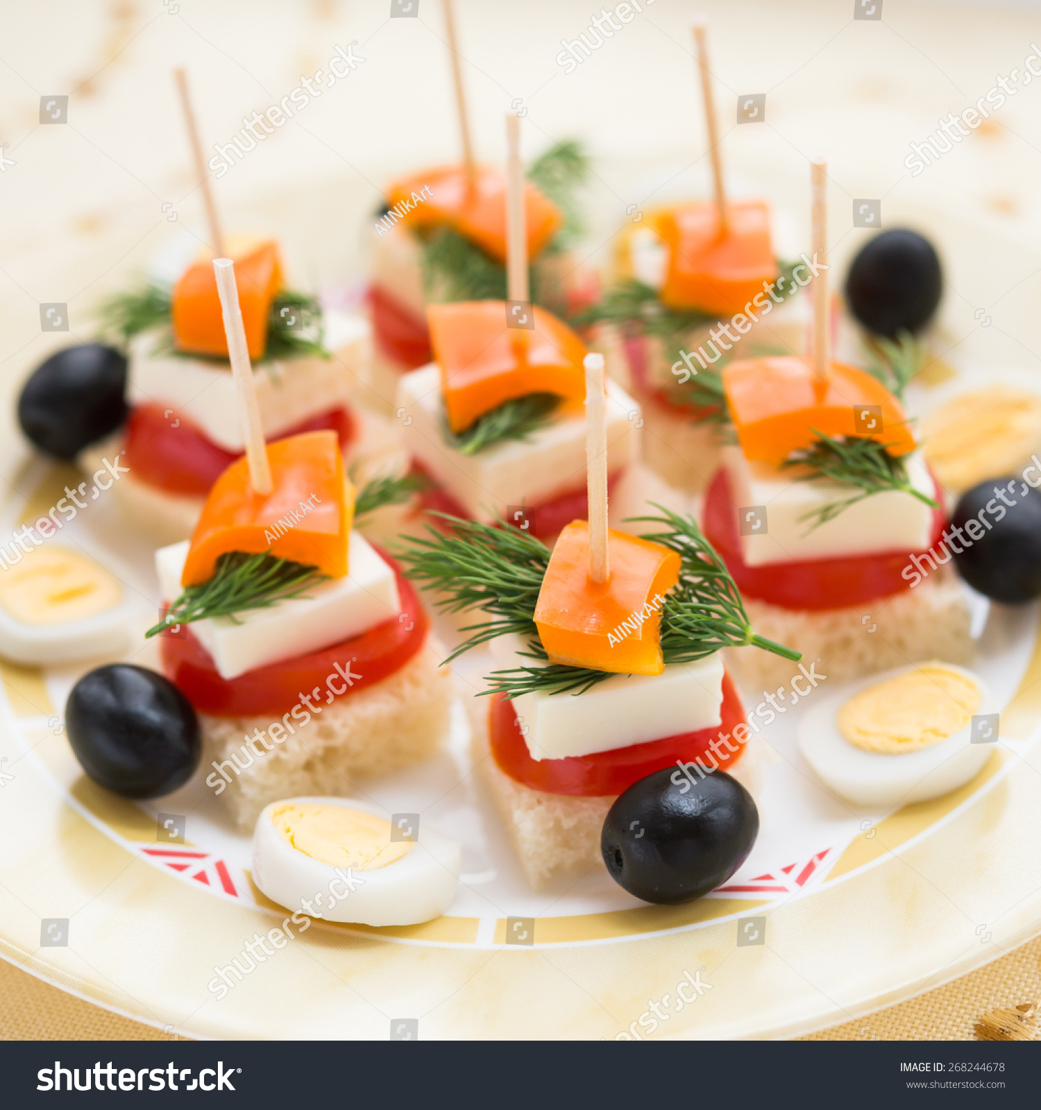 Cold snacks canapes feta cheese vegetables stock photo for Cold canapes
