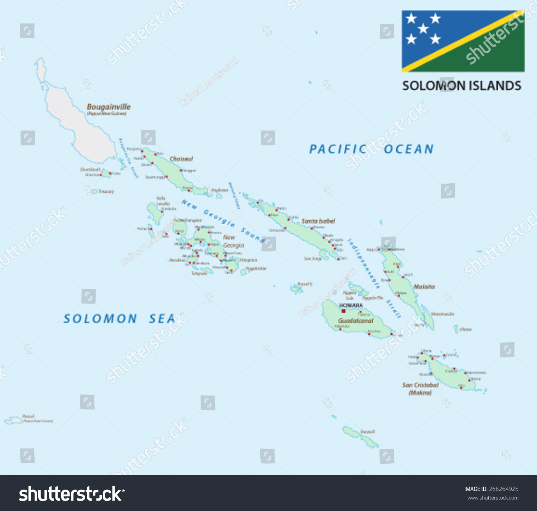 Solomon Islands Map Flag Stock Vector Shutterstock - Solomon islands map