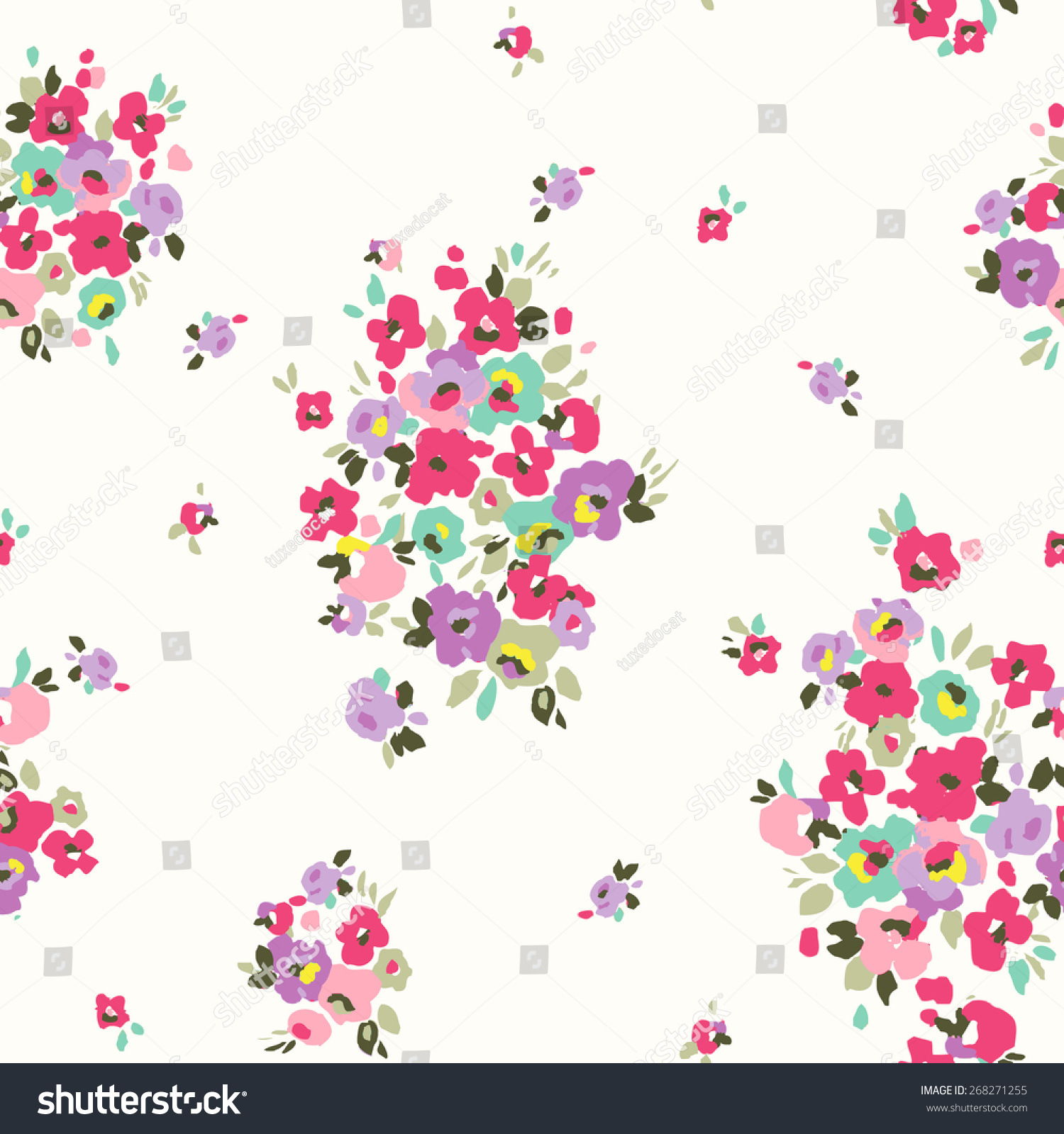 Seamless Tiny Cute Flowerfloral Vector Pattern Stock