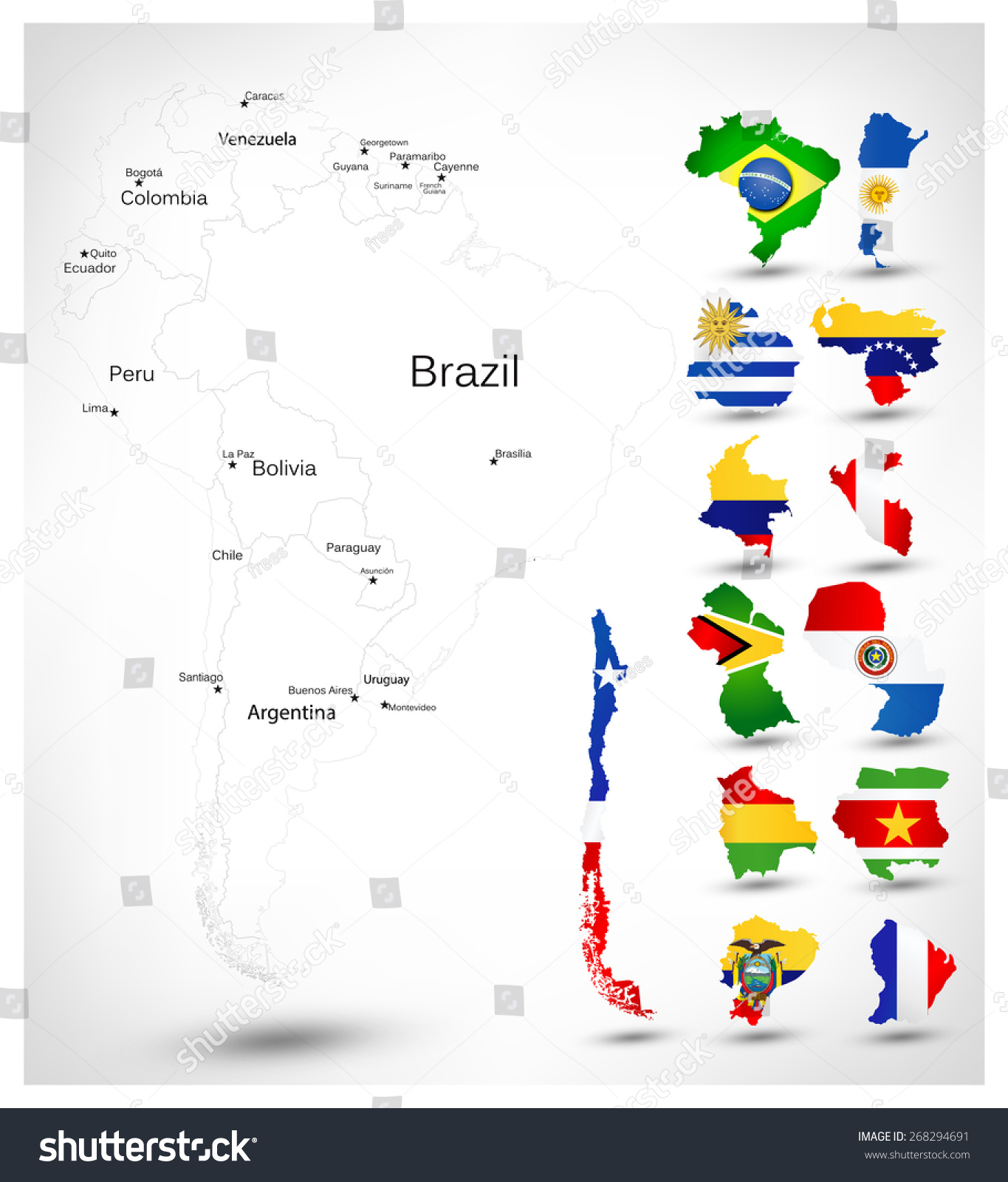 South America Blind Map Countries Flags Stock Vector - South america map and flags