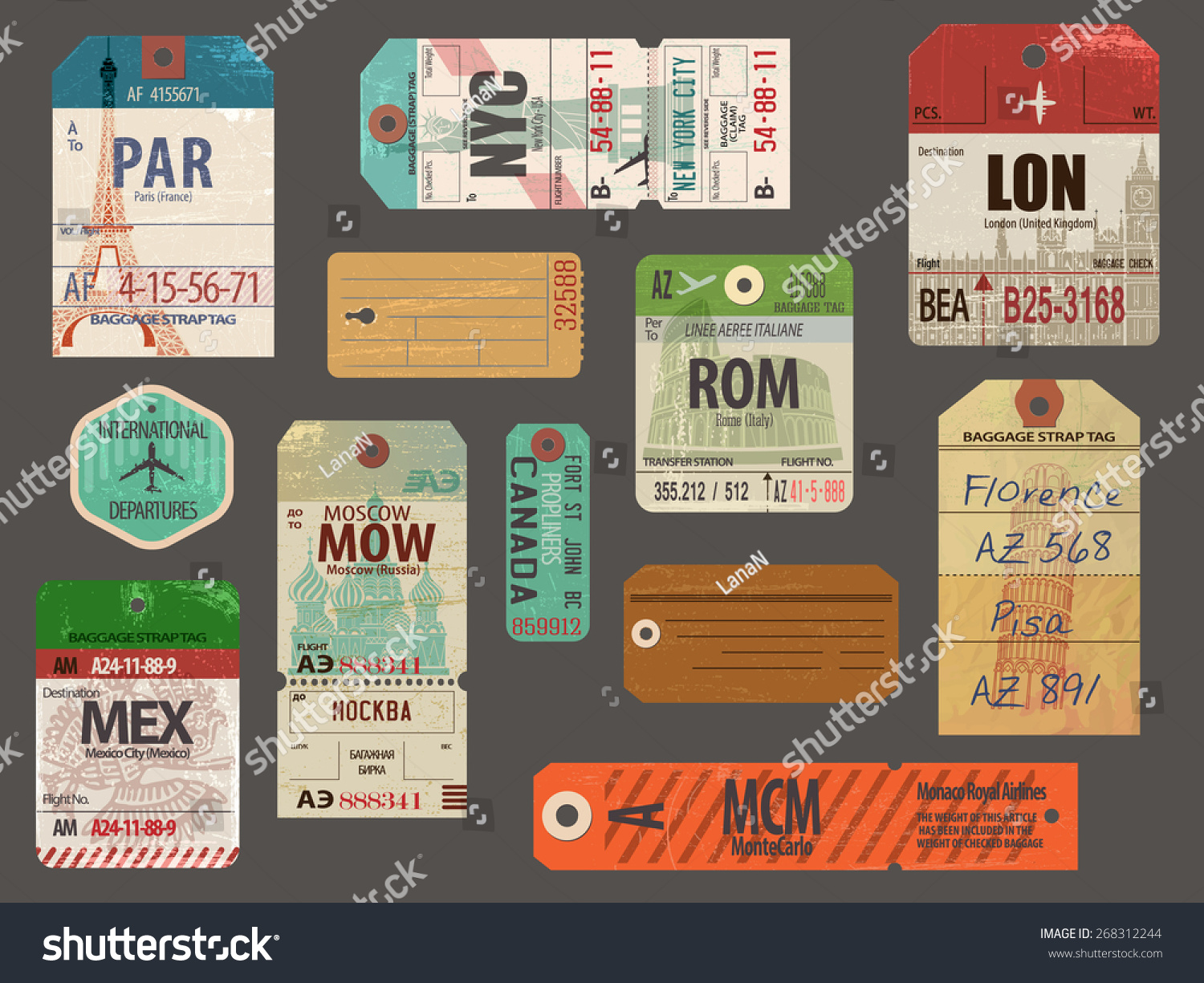 Vintage Baggage Luggage Tags Flights Most Stock Vector 268312244 ...
