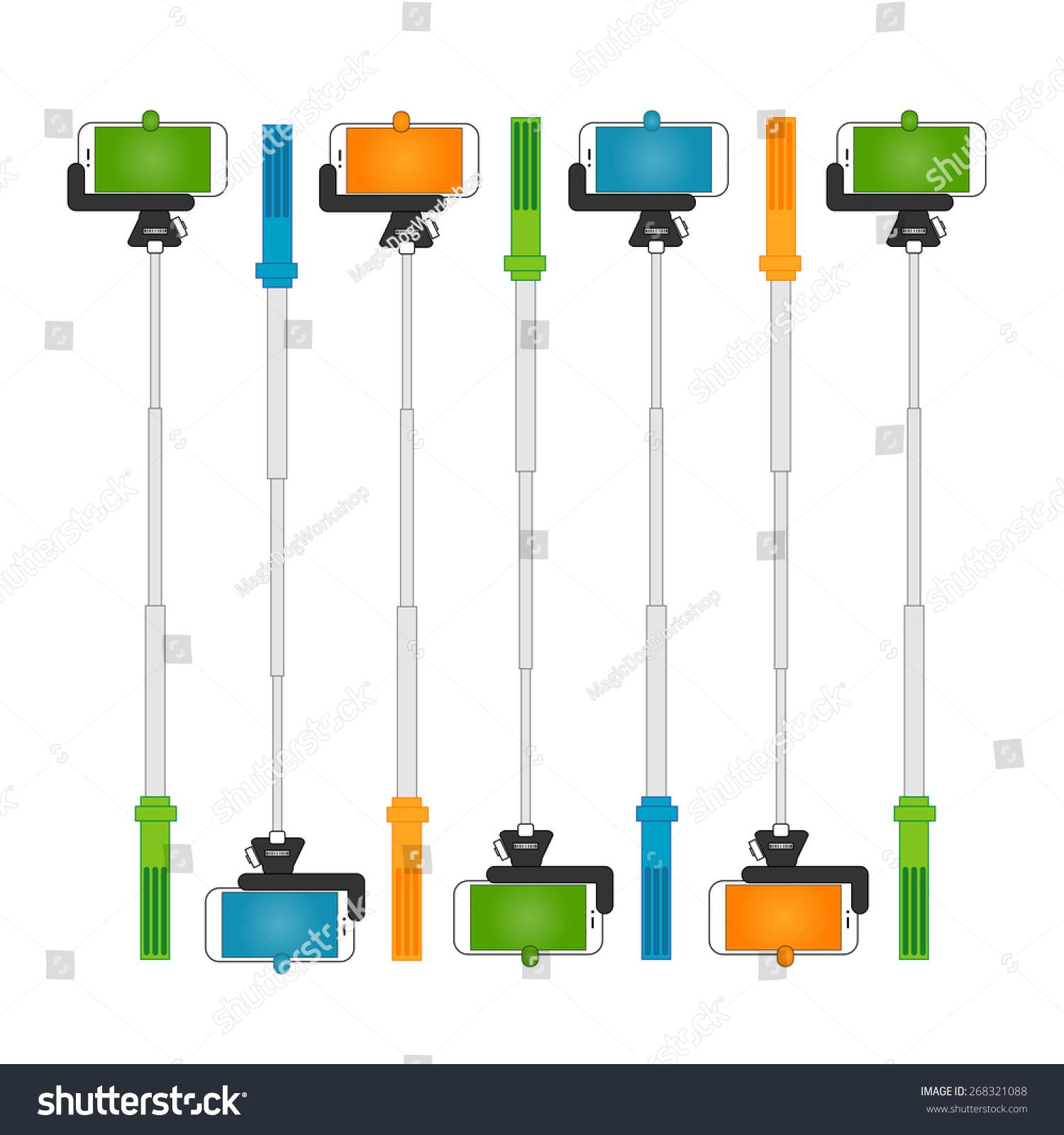 selfie stick illustration stock vector 268321088 shutterstock. Black Bedroom Furniture Sets. Home Design Ideas