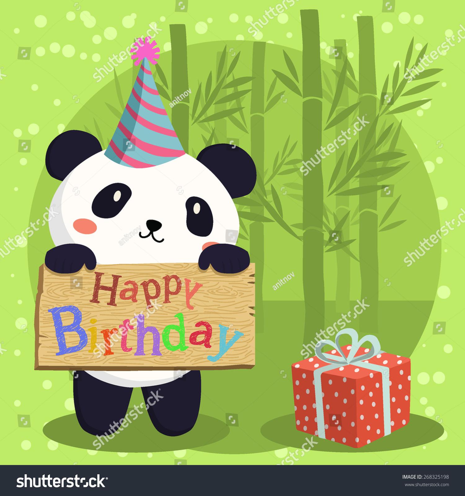 Cute Panda Cartoon Party Hat Holding Stock Vector